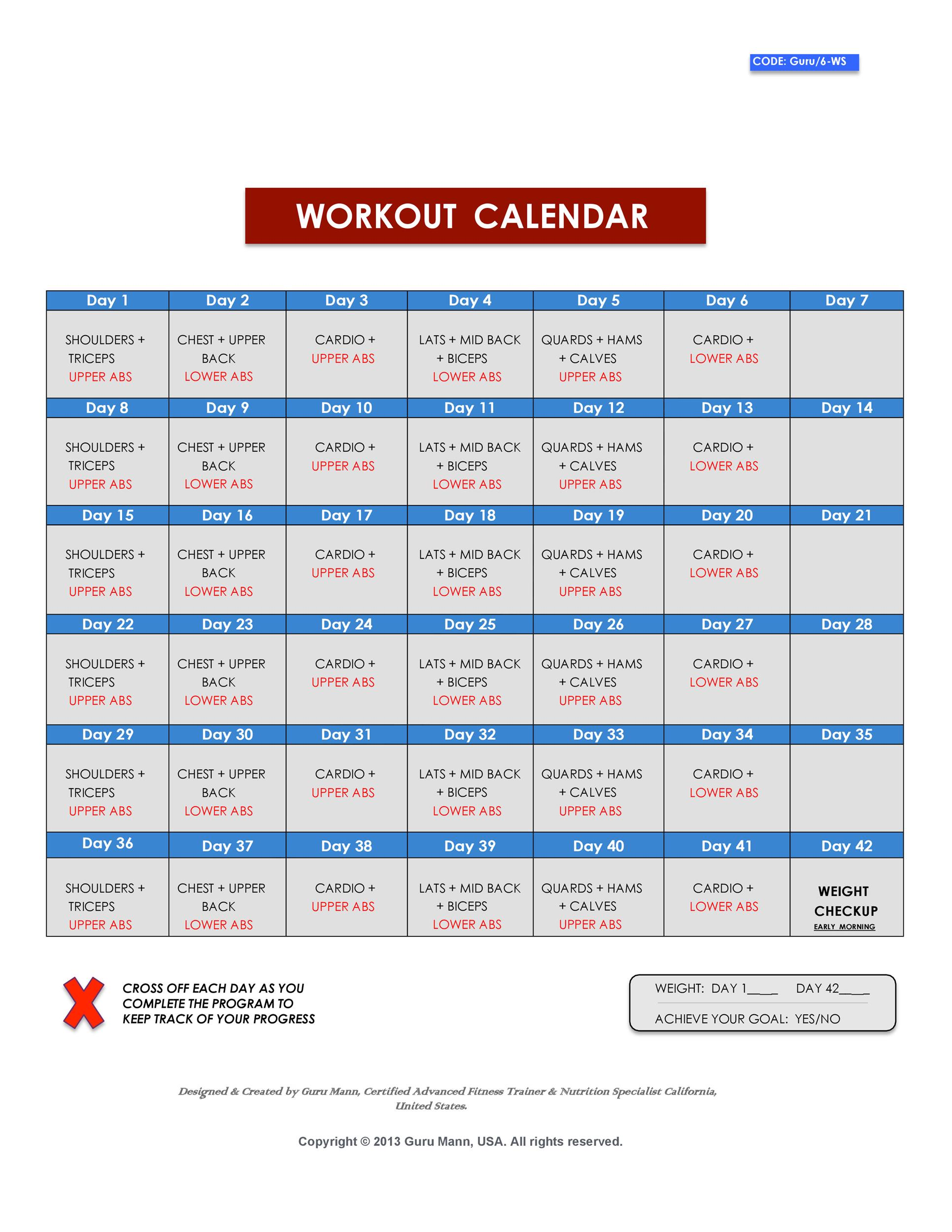 photo about Printable Workout Plans for Men titled 40+ Prosperous Exercise session Log Calendar Templates ᐅ Template Lab