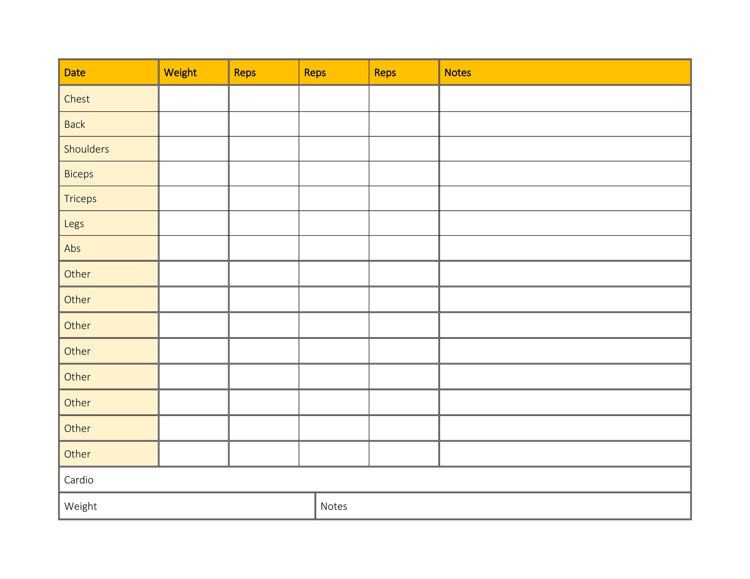 Effective Workout Log  Calendar Templates  Template Lab