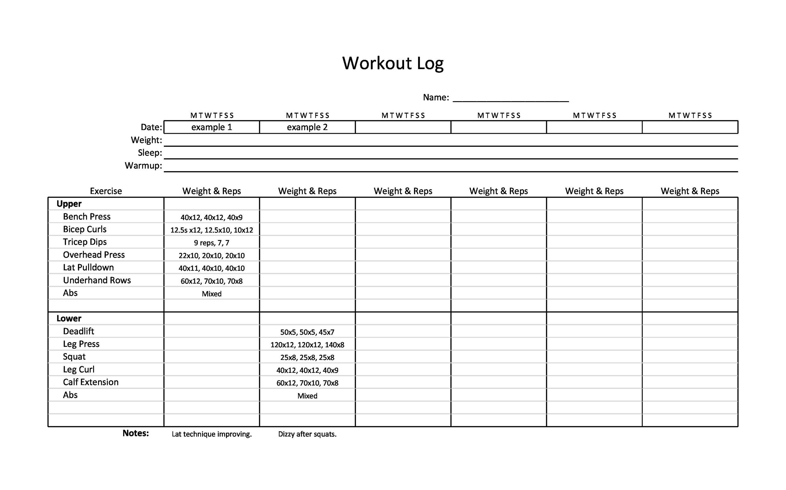 Free workout template 13