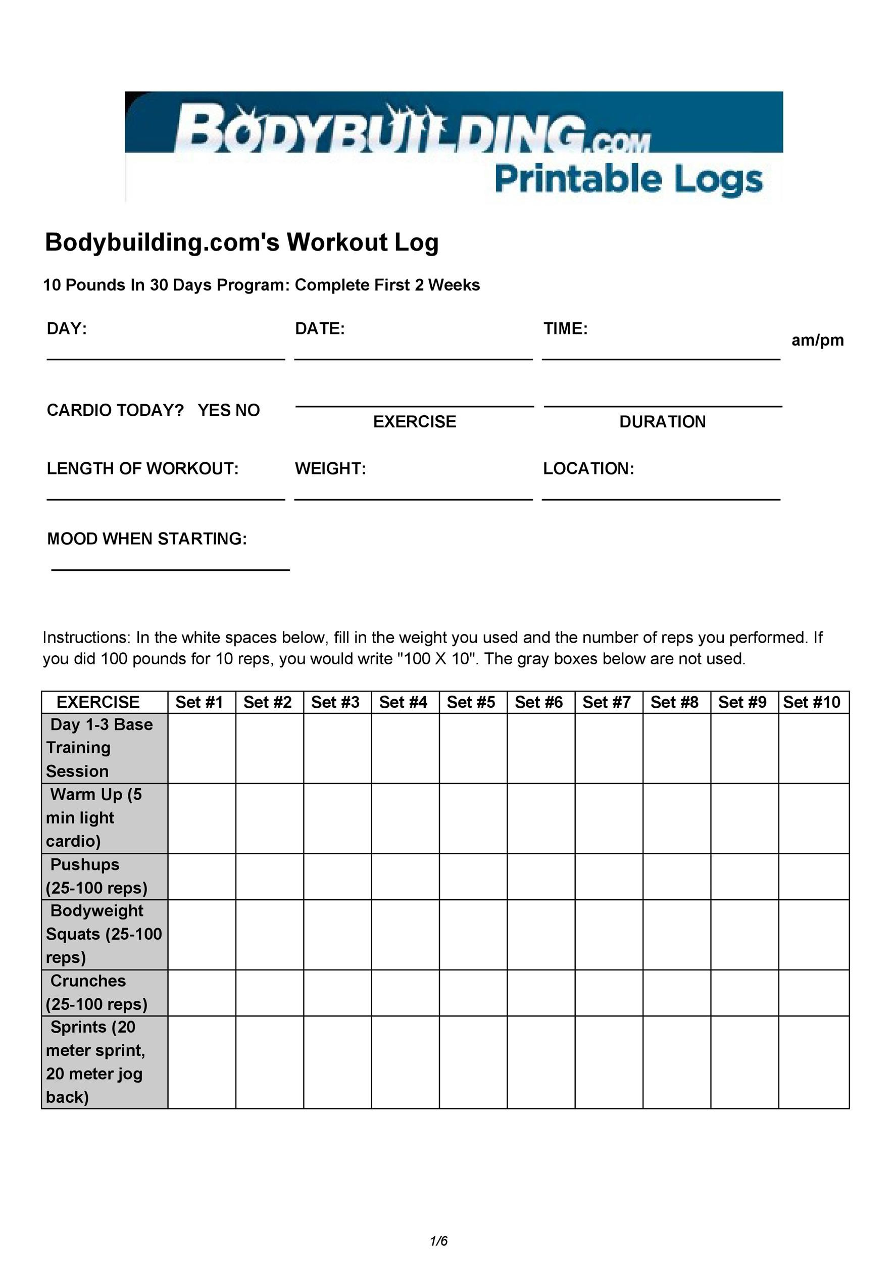 work out recording sheet