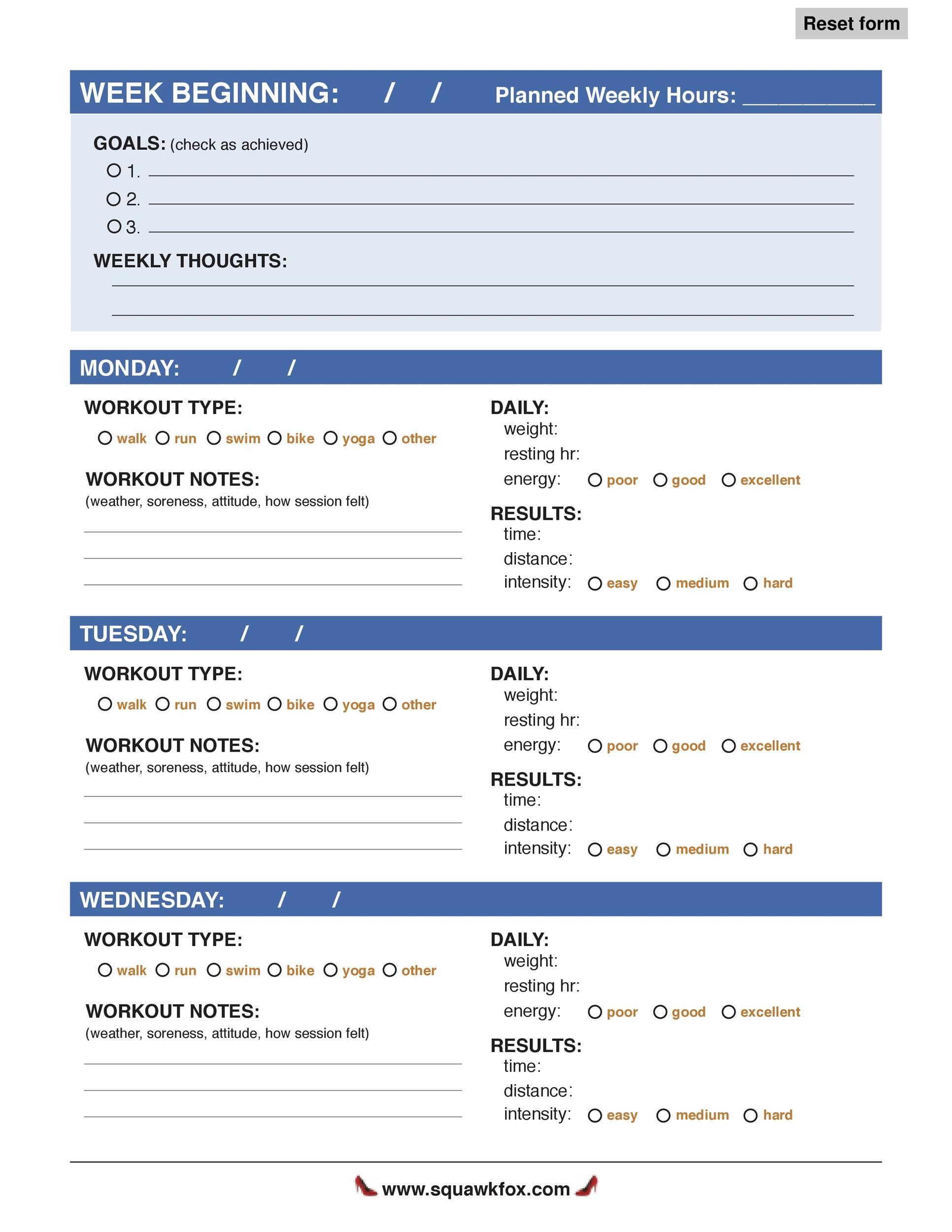 Free workout template 22