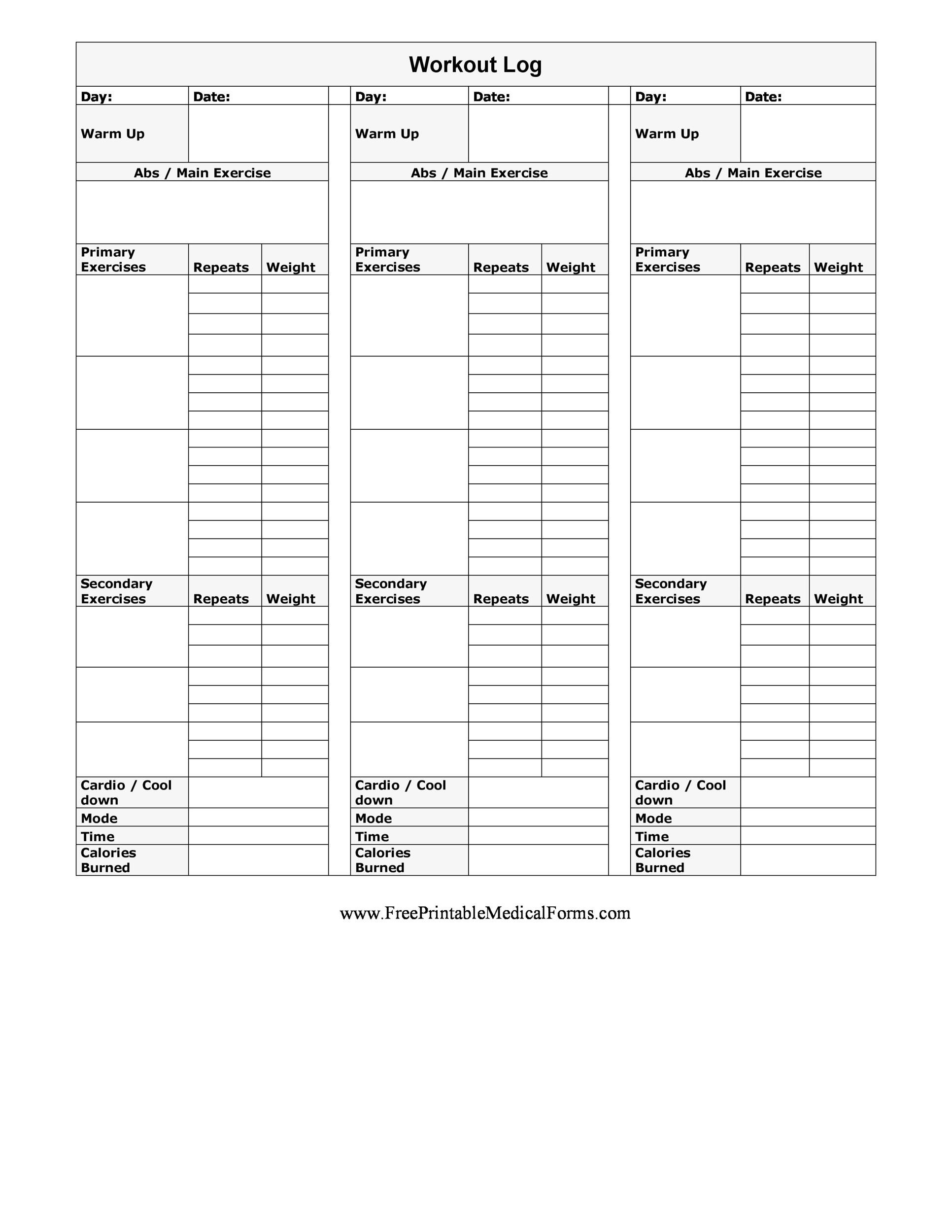 picture regarding Printable Workout Calendar identified as 40+ Prosperous Work out Log Calendar Templates ᐅ Template Lab