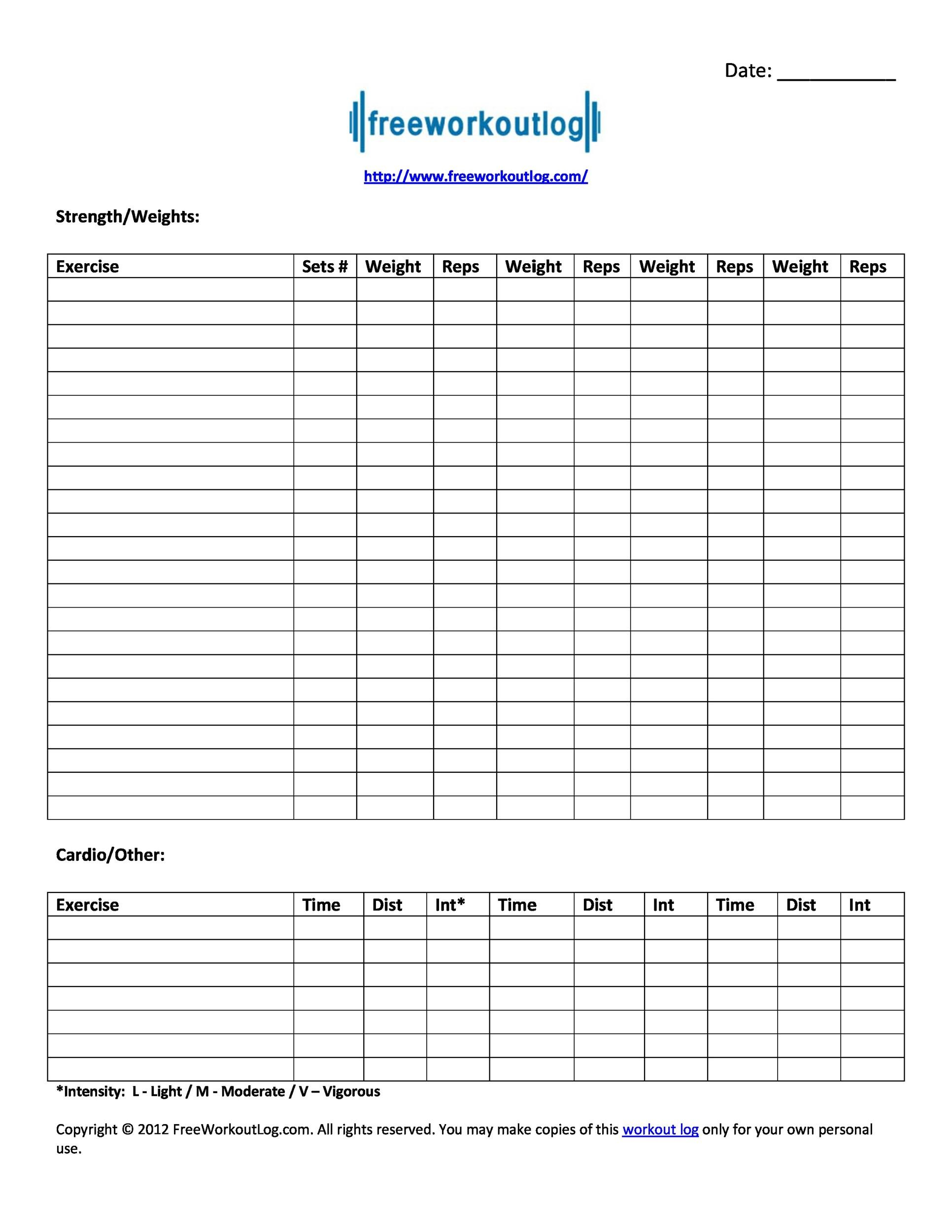 photograph relating to Free Printable Workout Log referred to as 40+ Productive Exercise routine Log Calendar Templates ᐅ Template Lab