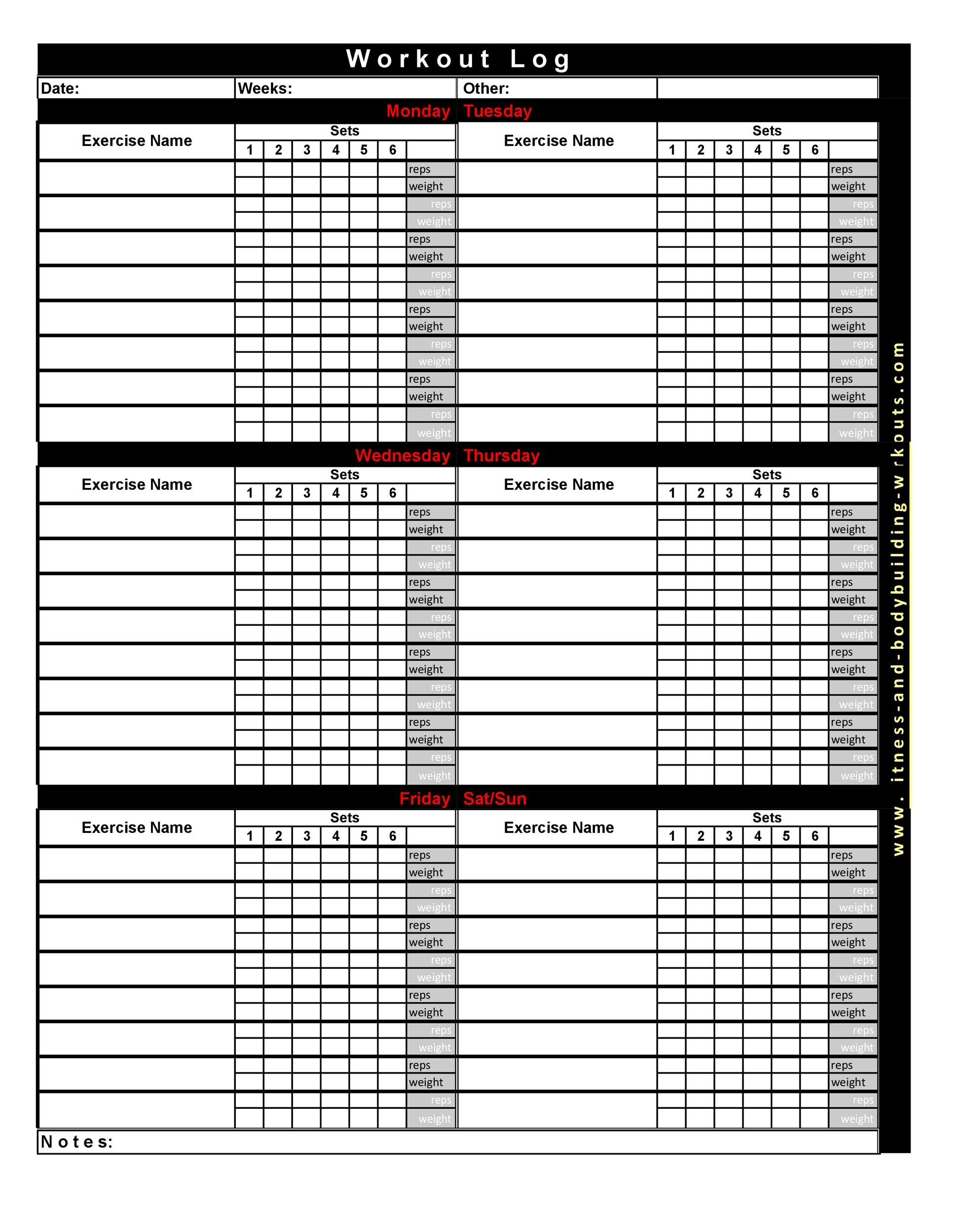 40  effective workout log  u0026 calendar templates
