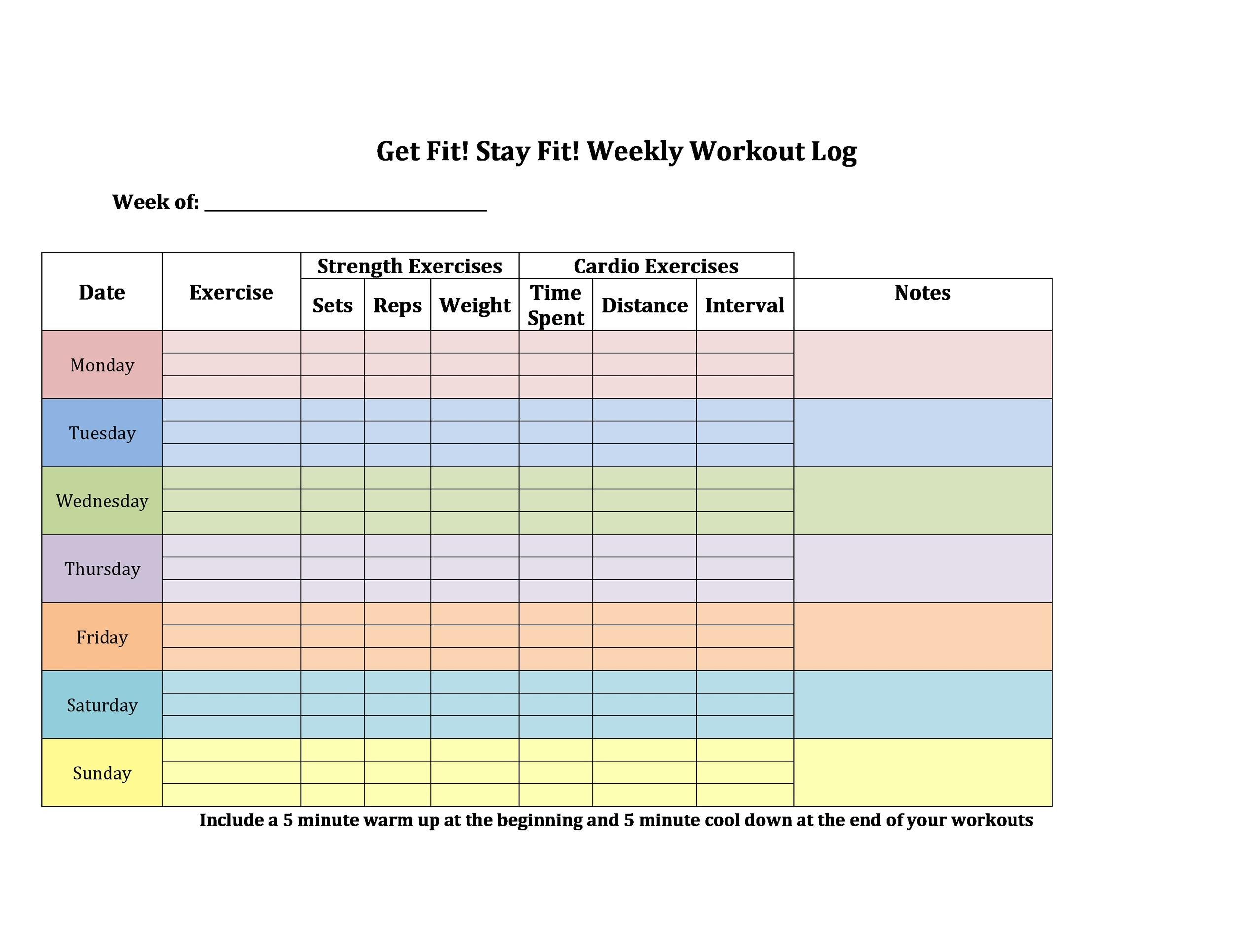 photograph about Free Printable Workout Log called 40+ Prosperous Exercise routine Log Calendar Templates ᐅ Template Lab