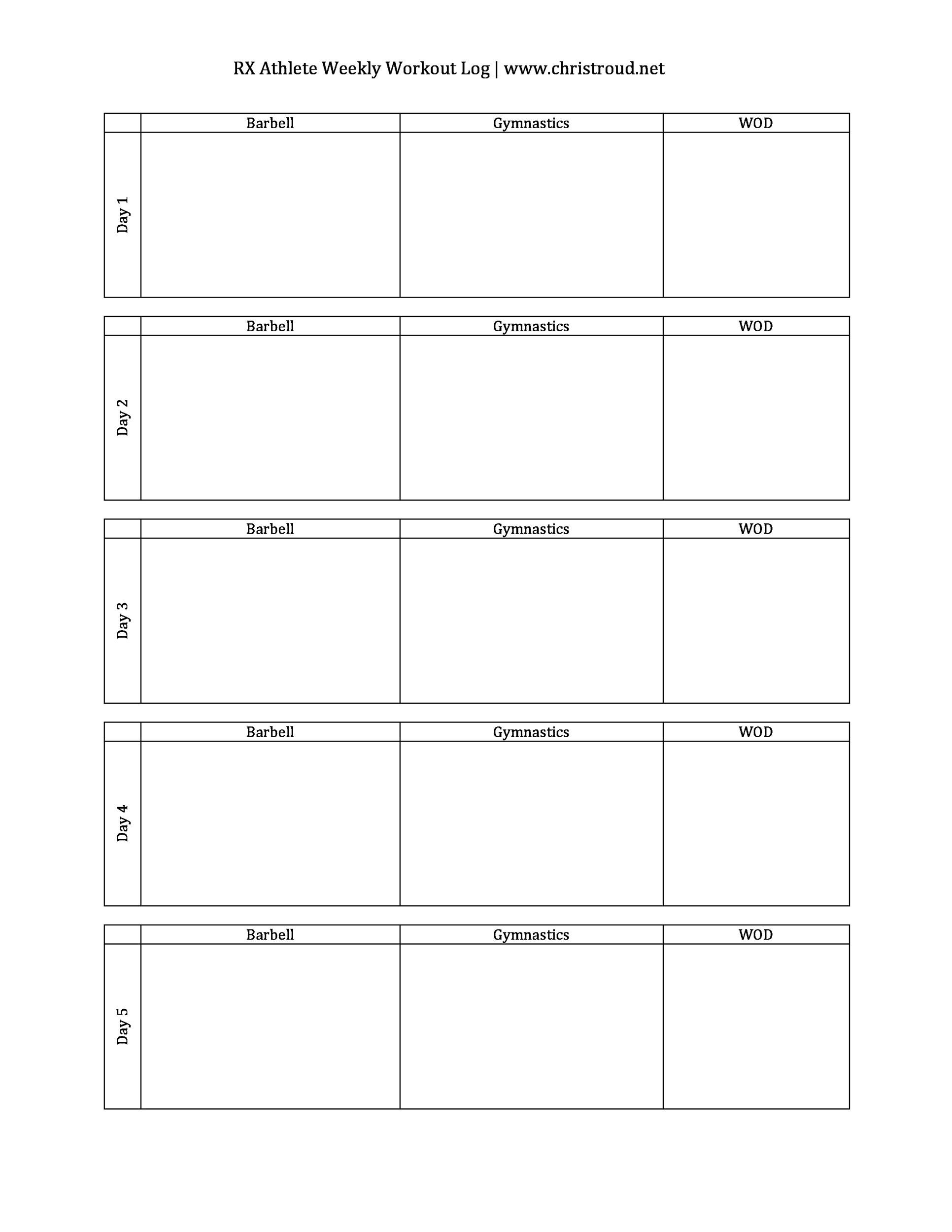 Free workout template 33