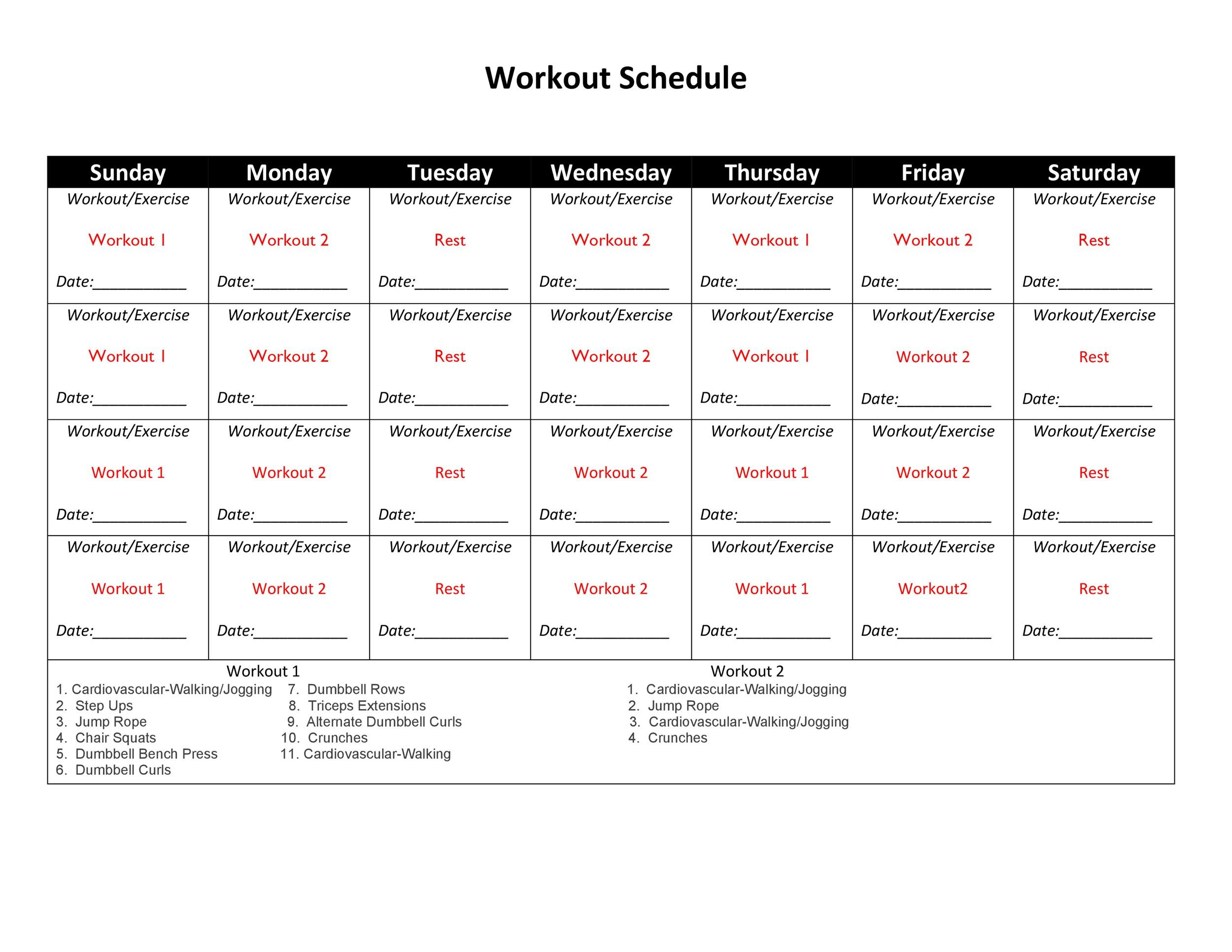 Free workout template 40
