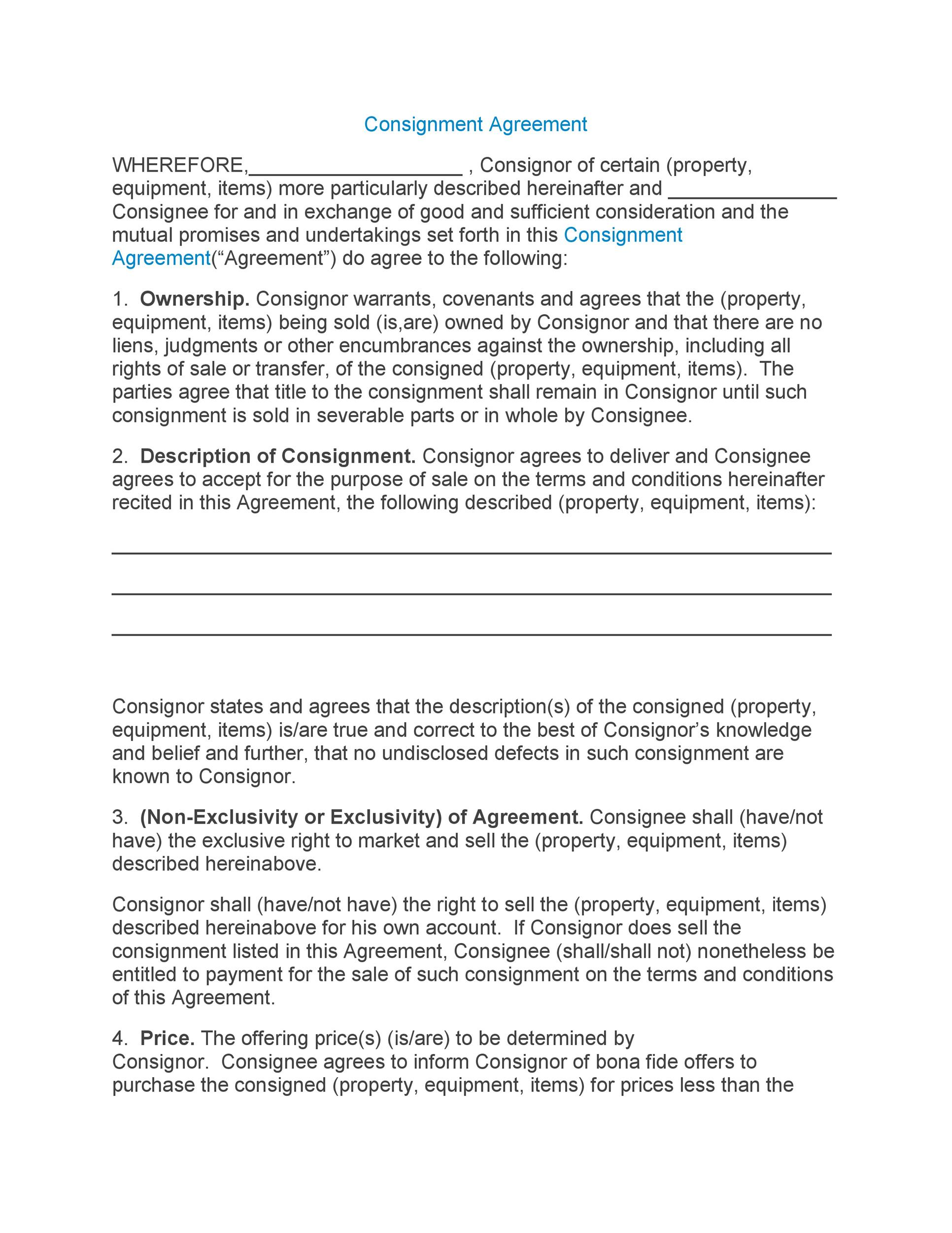 Free Consignment Agreement Template 01