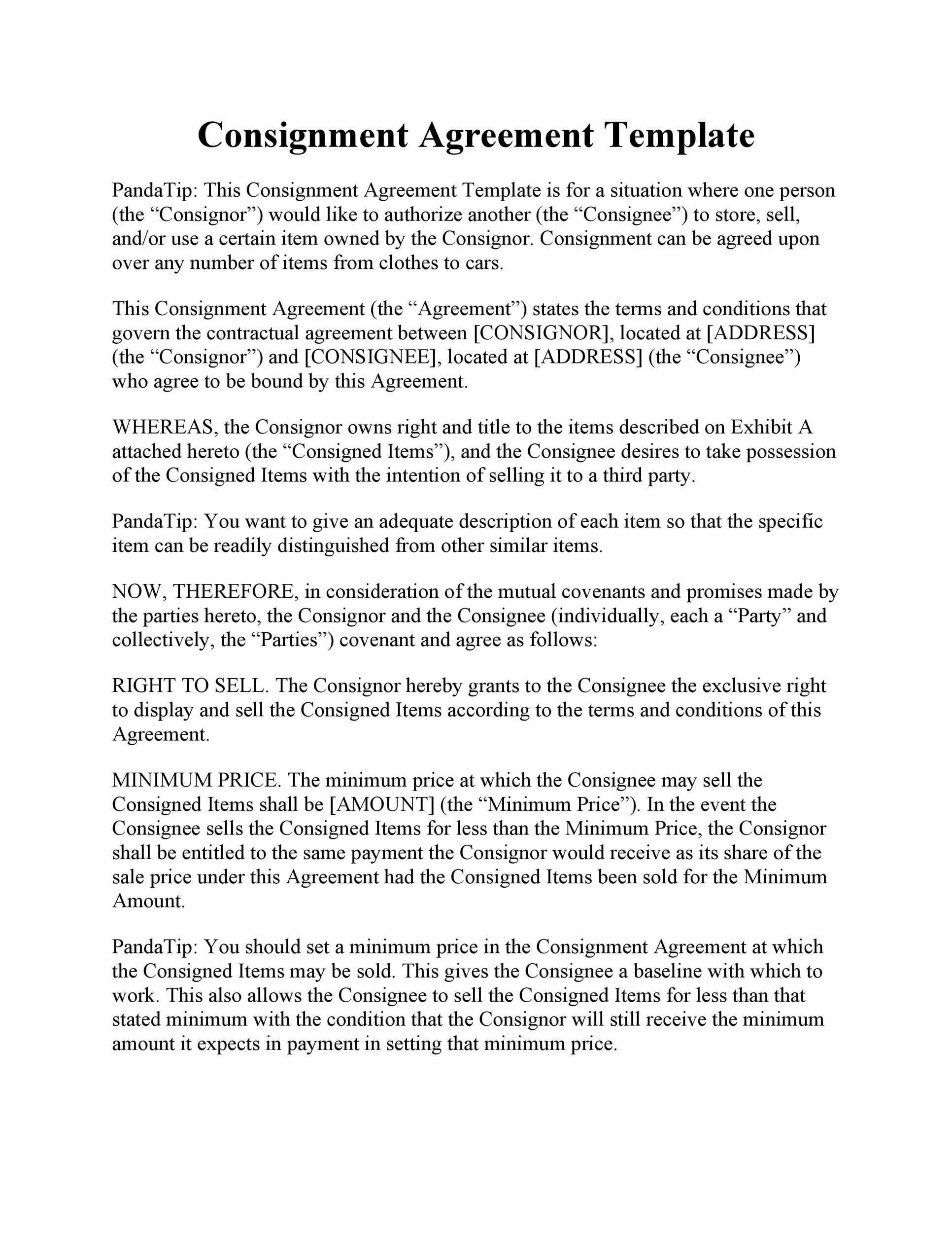 Printable Consignment Agreement Template 02  Mutual Agreement Between Two Parties