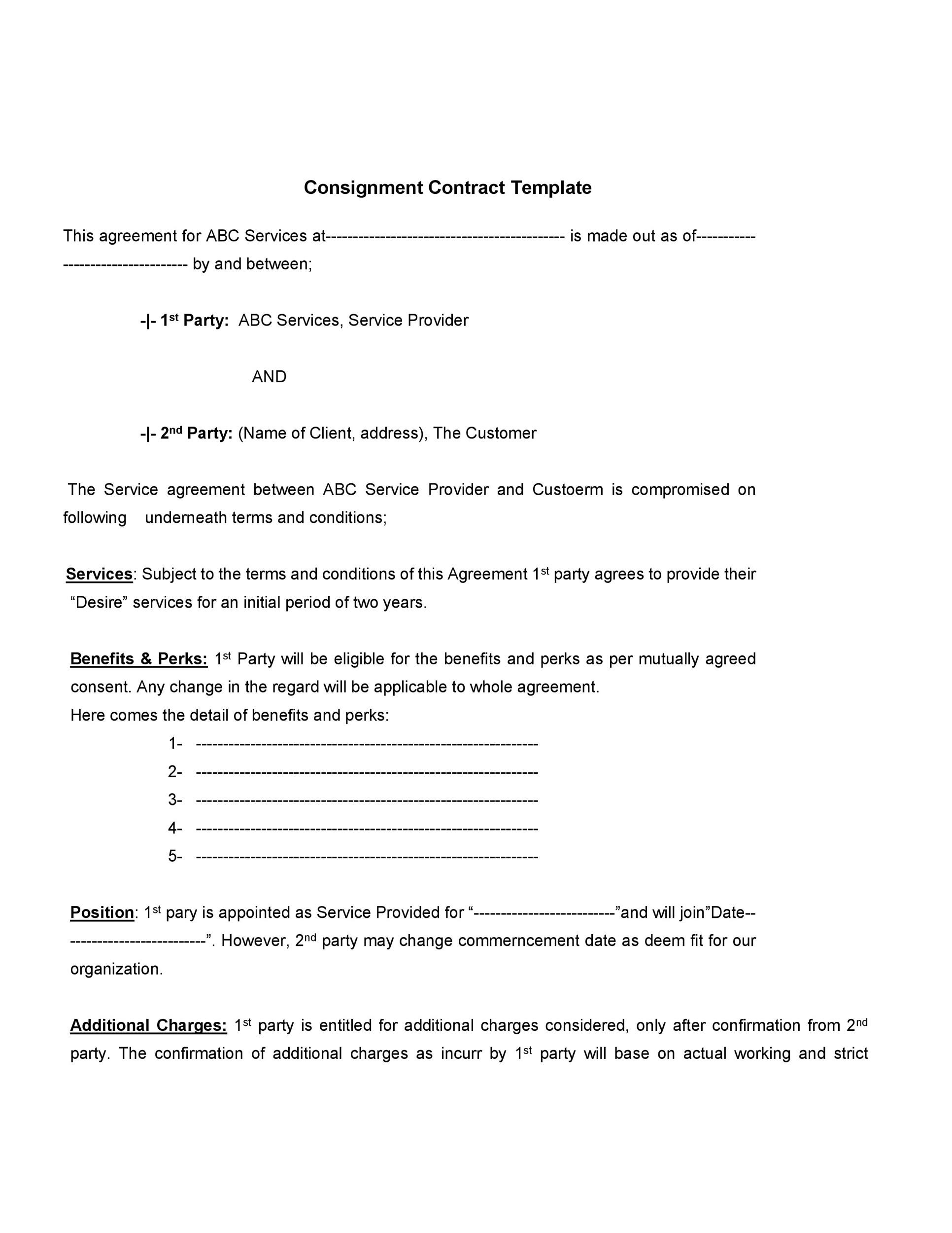 Consignment contract template consignment agreement for Consignment shop contract template