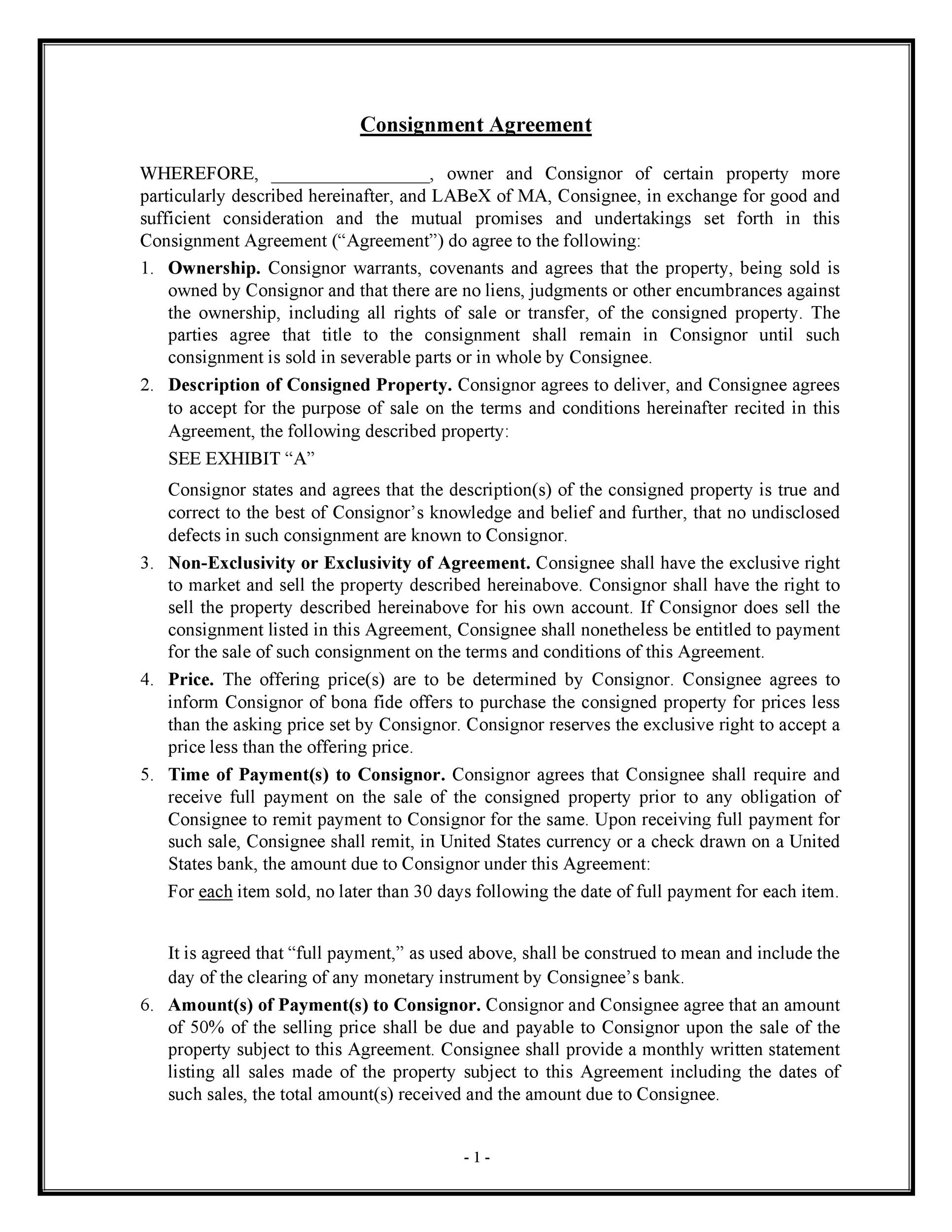 Printable Consignment Agreement Template 05  Consignment Contracts Template