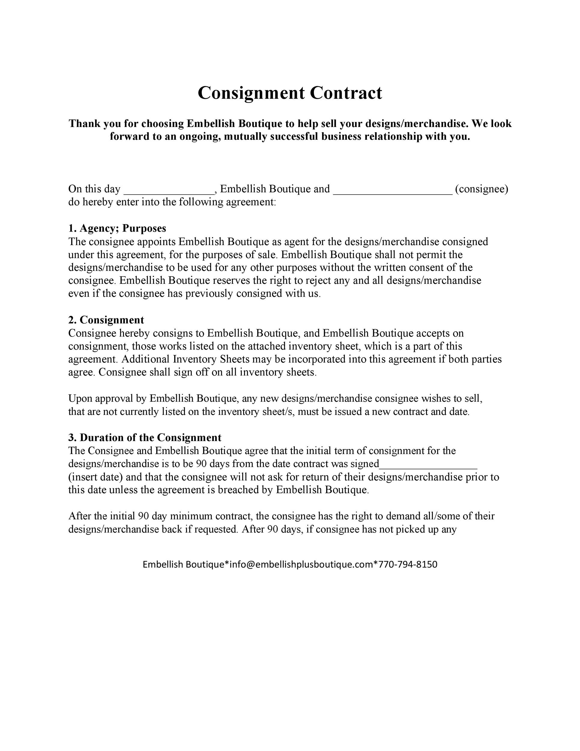 Free Consignment Agreement Template 06