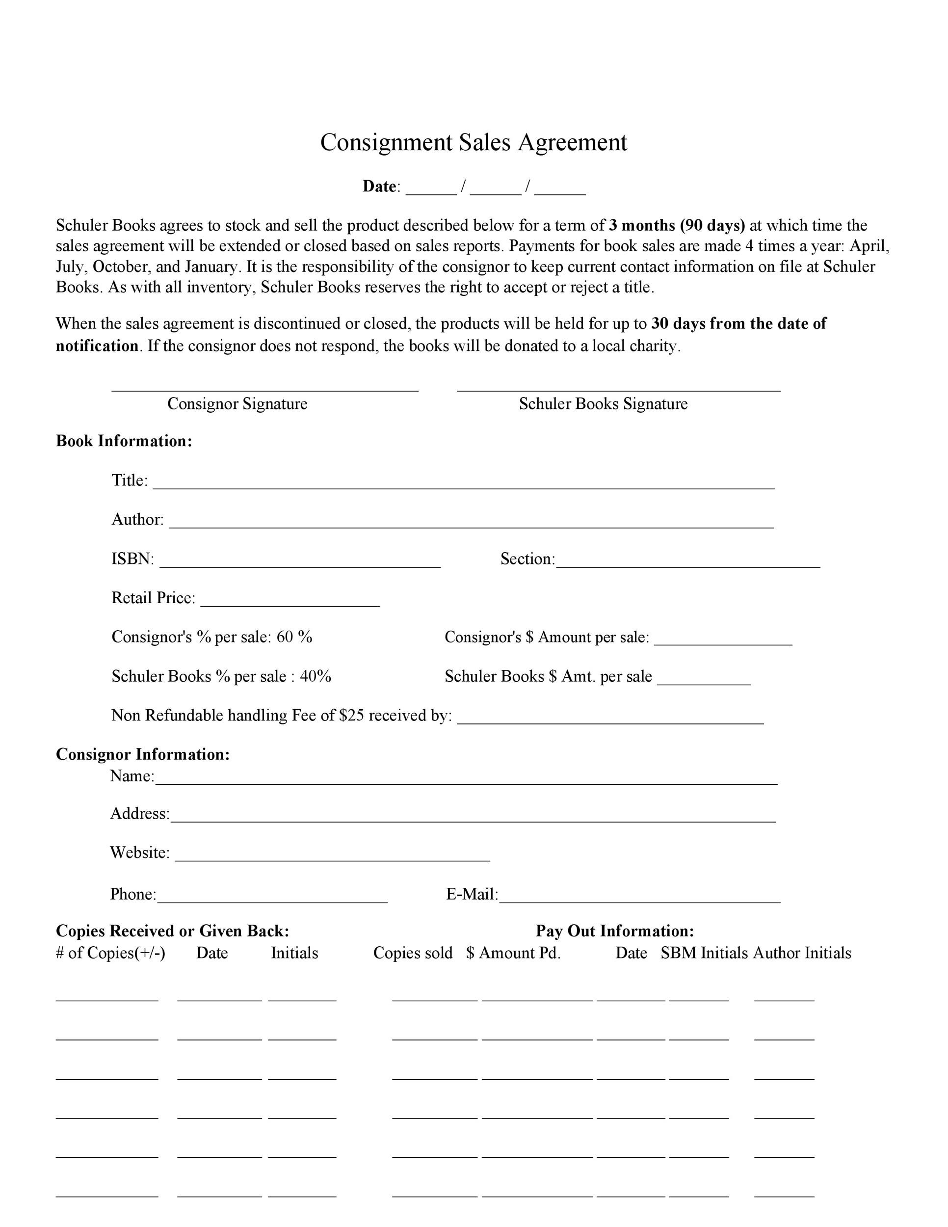 Free Consignment Agreement Template 07