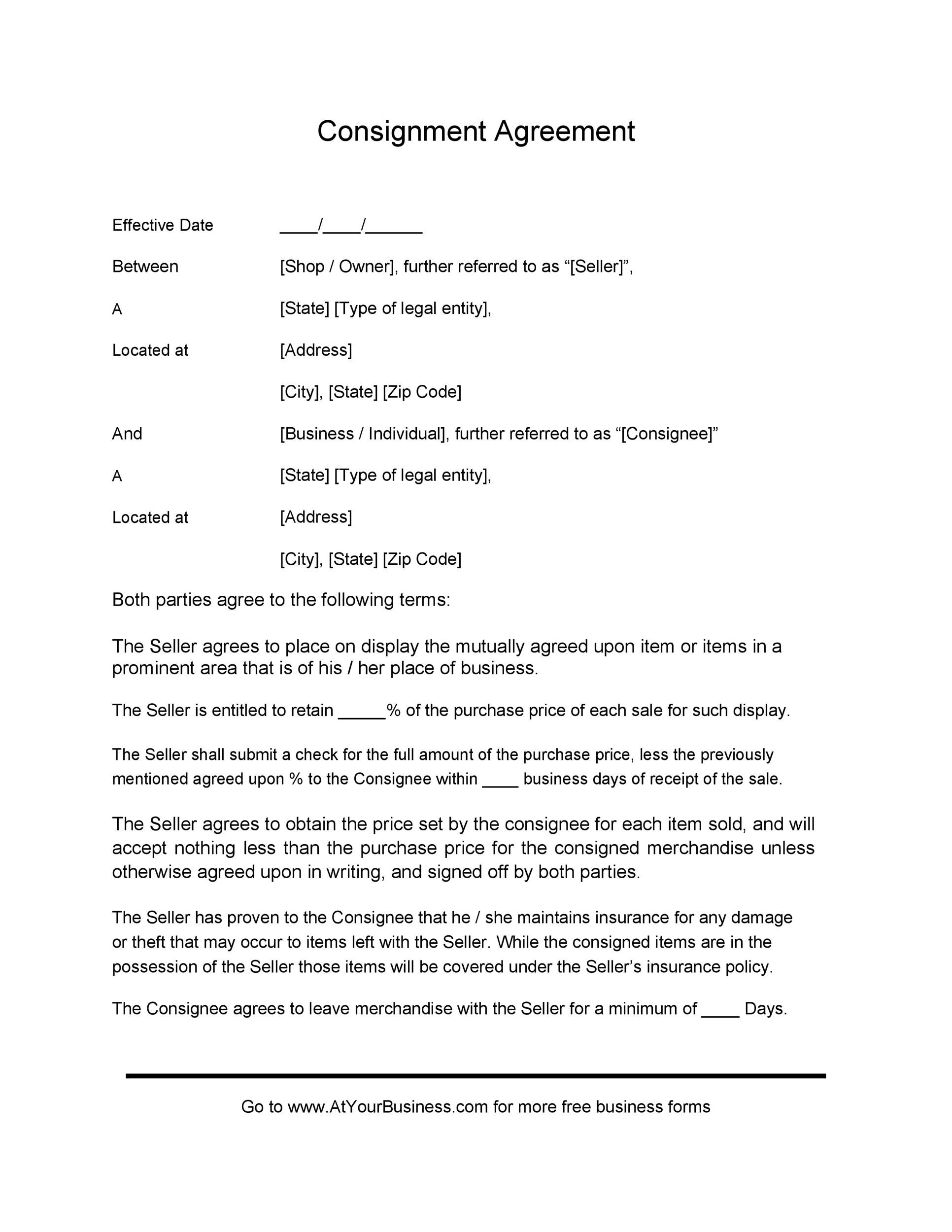 Free Consignment Agreement Template 08