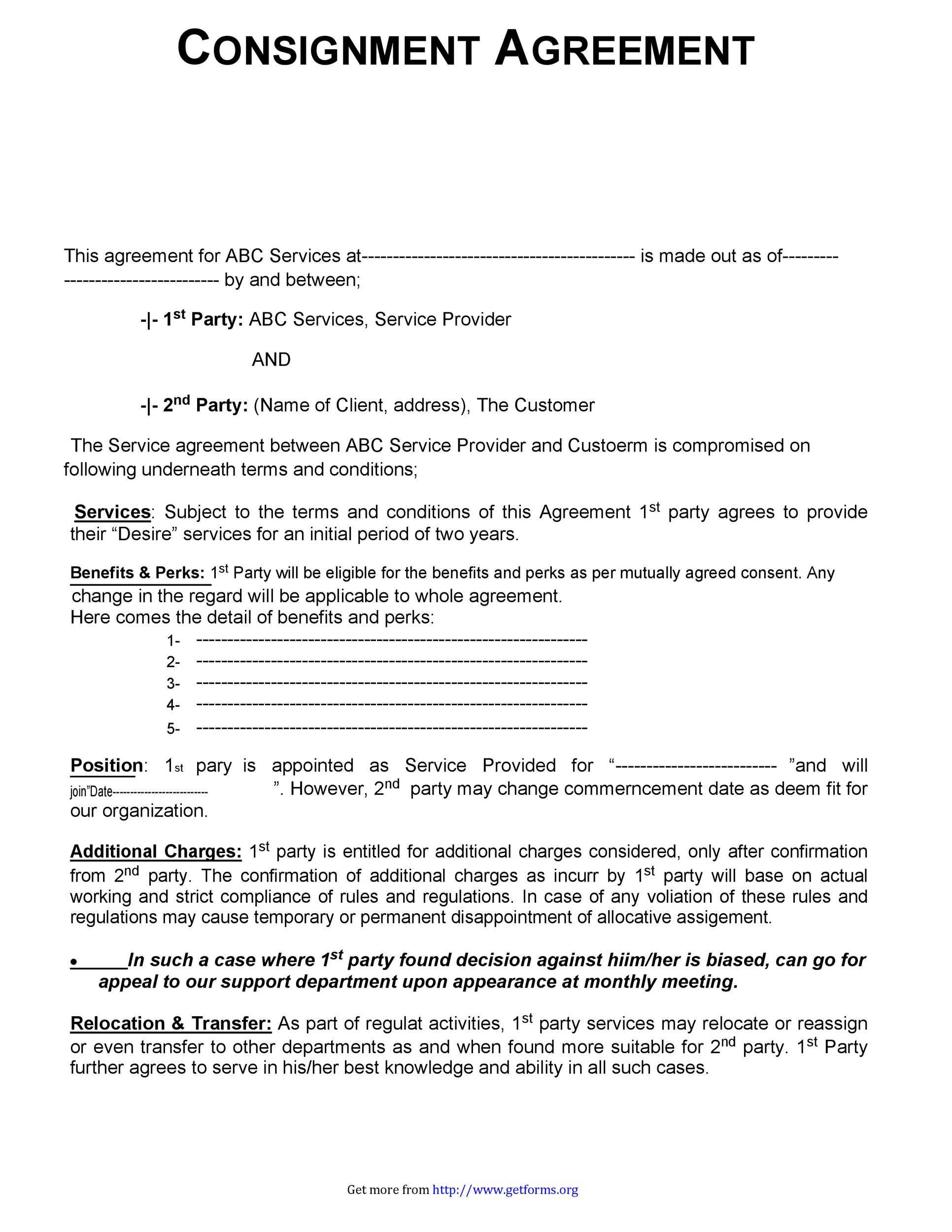 Free Consignment Agreement Template 09