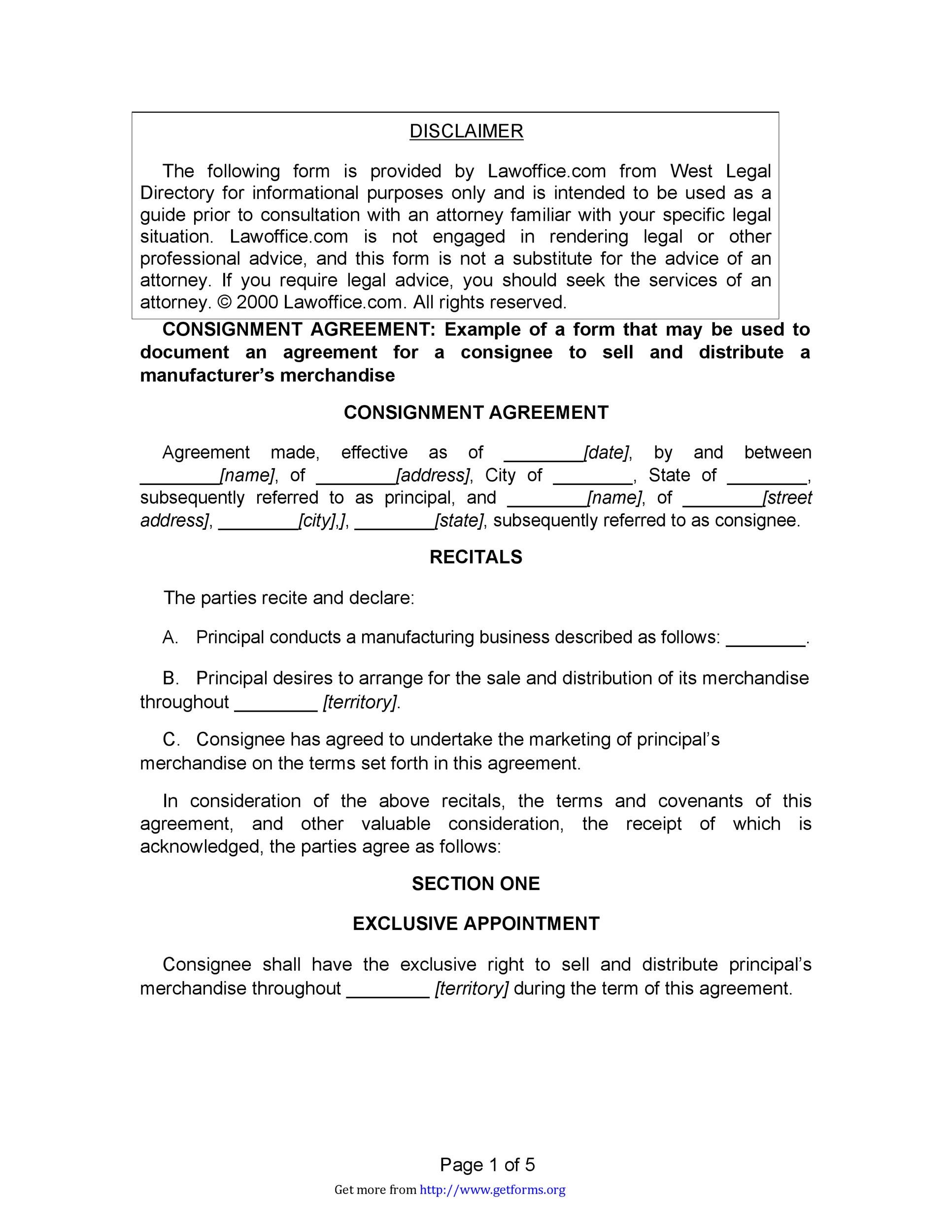 Free Consignment Agreement Template 10