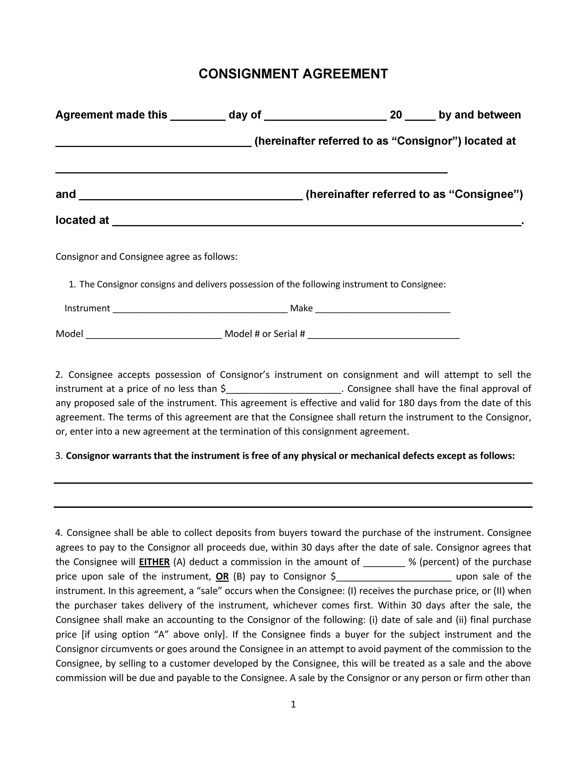 Consignment Agreement Forms  Free Consignment Agreement