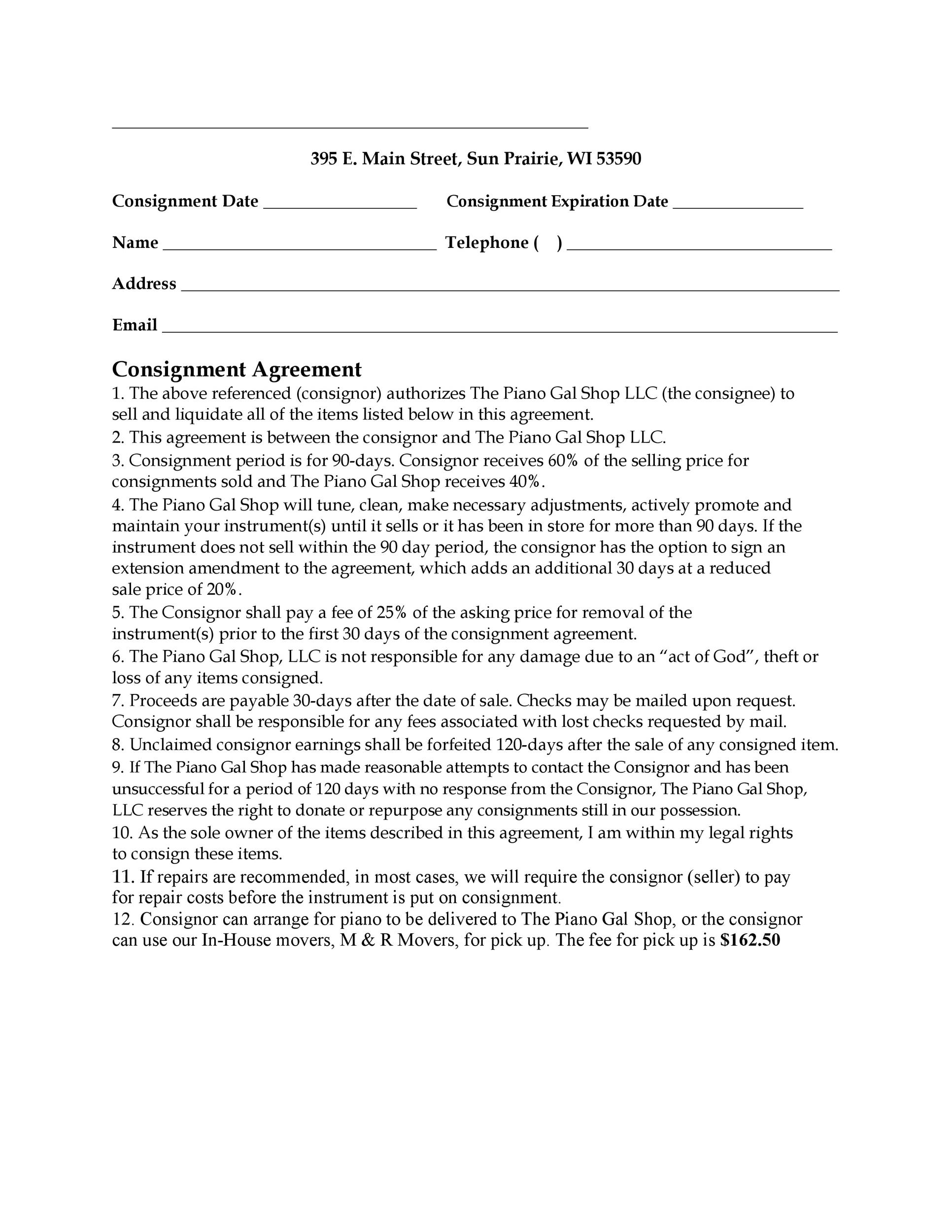 Free Consignment Agreement Template 12