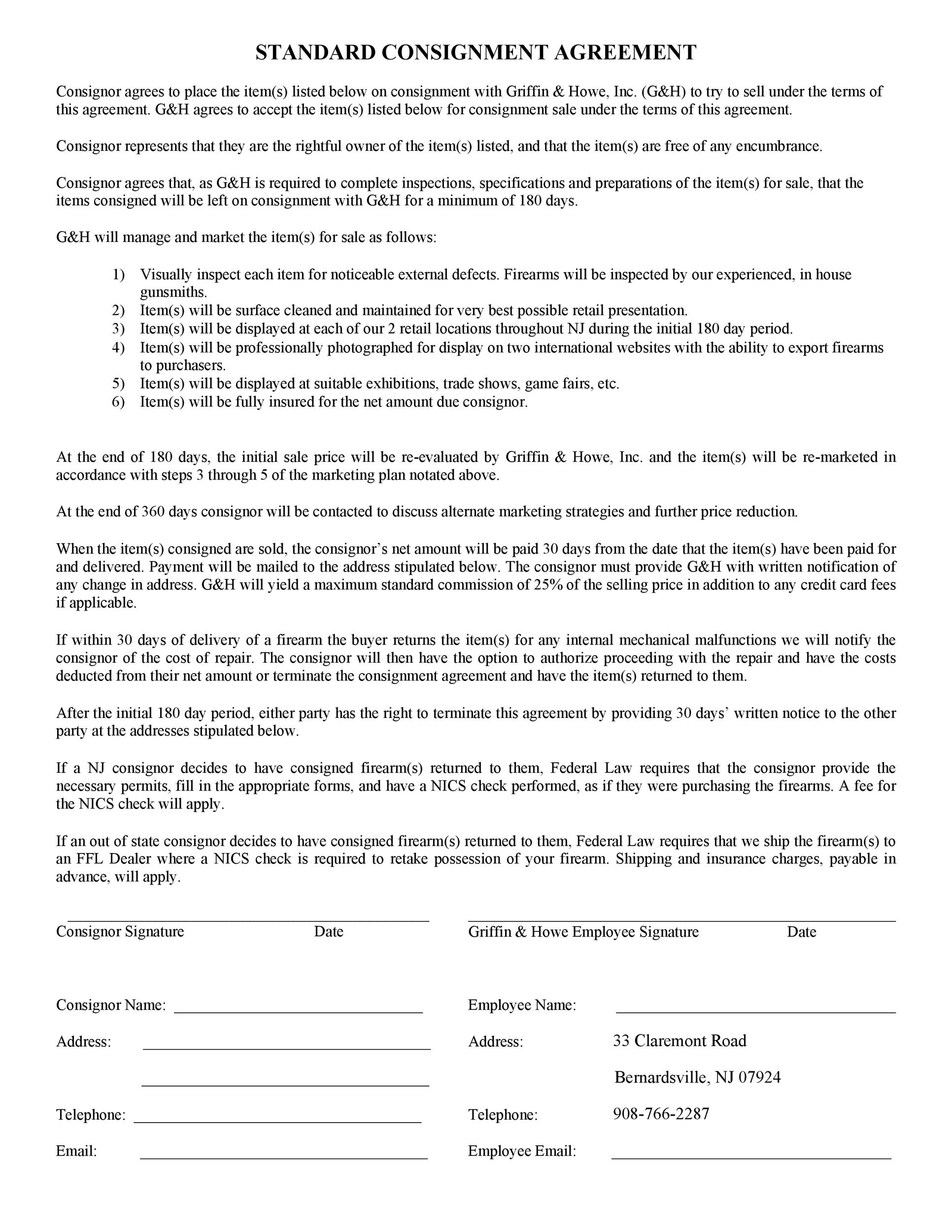 Printable Consignment Agreement Template 13  Consignment Contracts Template