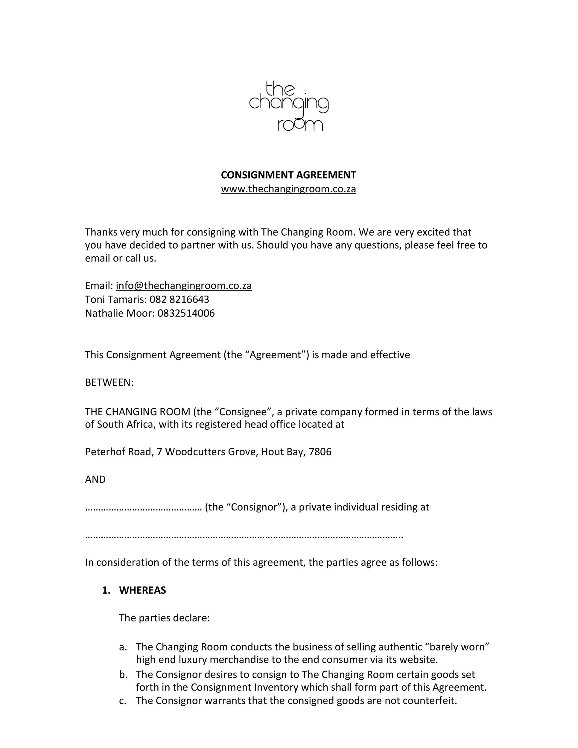 Free Consignment Agreement Template 17