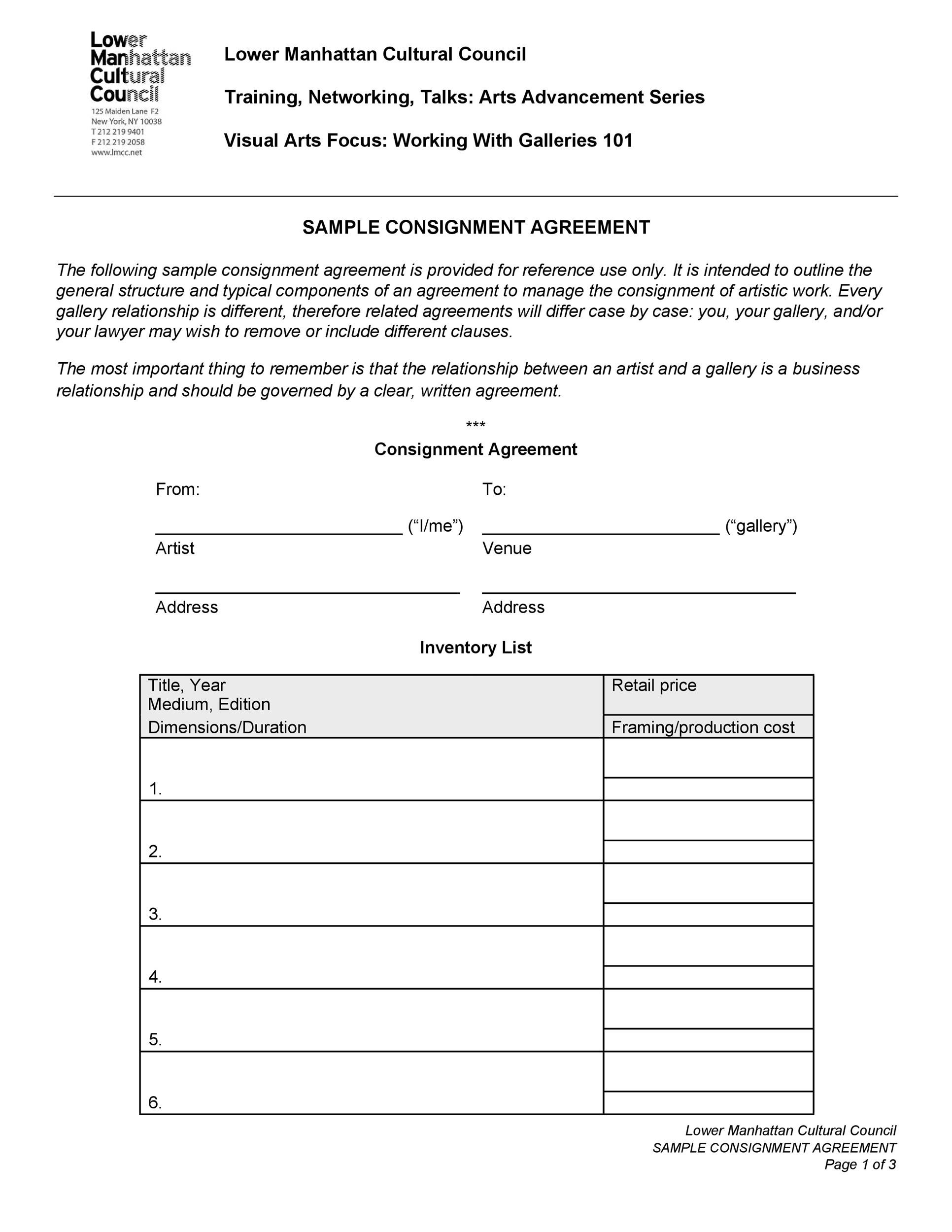 Printable Consignment Agreement Template 18  Consignment Inventory Agreement Template