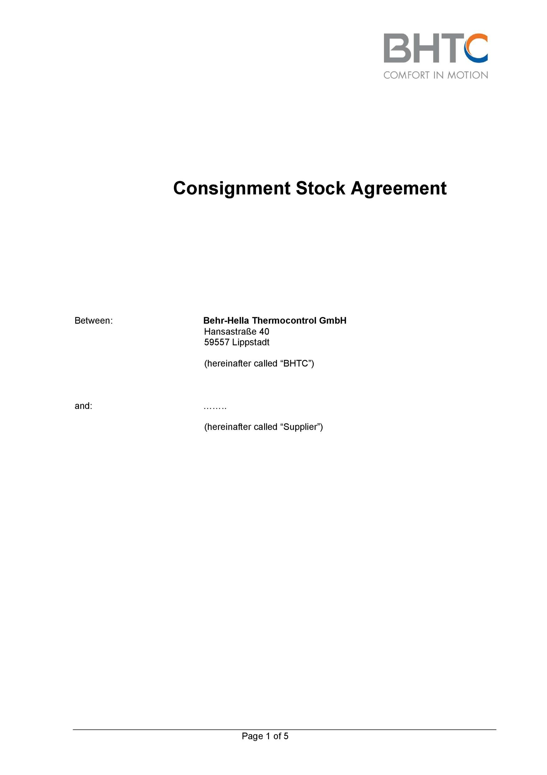 Free Consignment Agreement Template 20