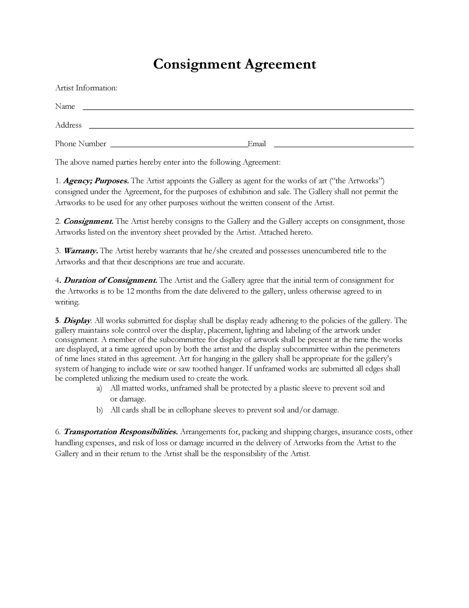 Free Consignment Agreement Template 21