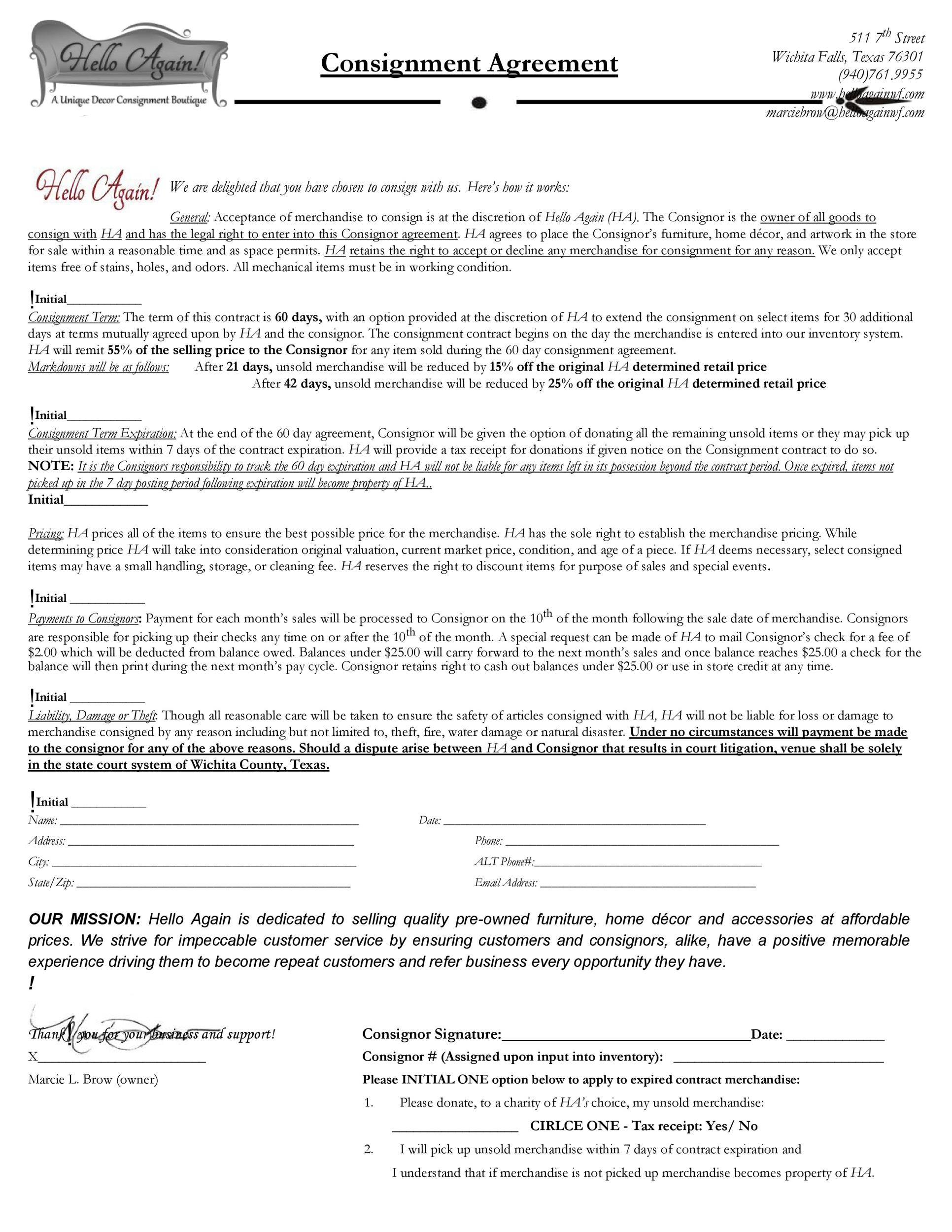 Best Consignment Agreement Templates  Forms  Template Lab