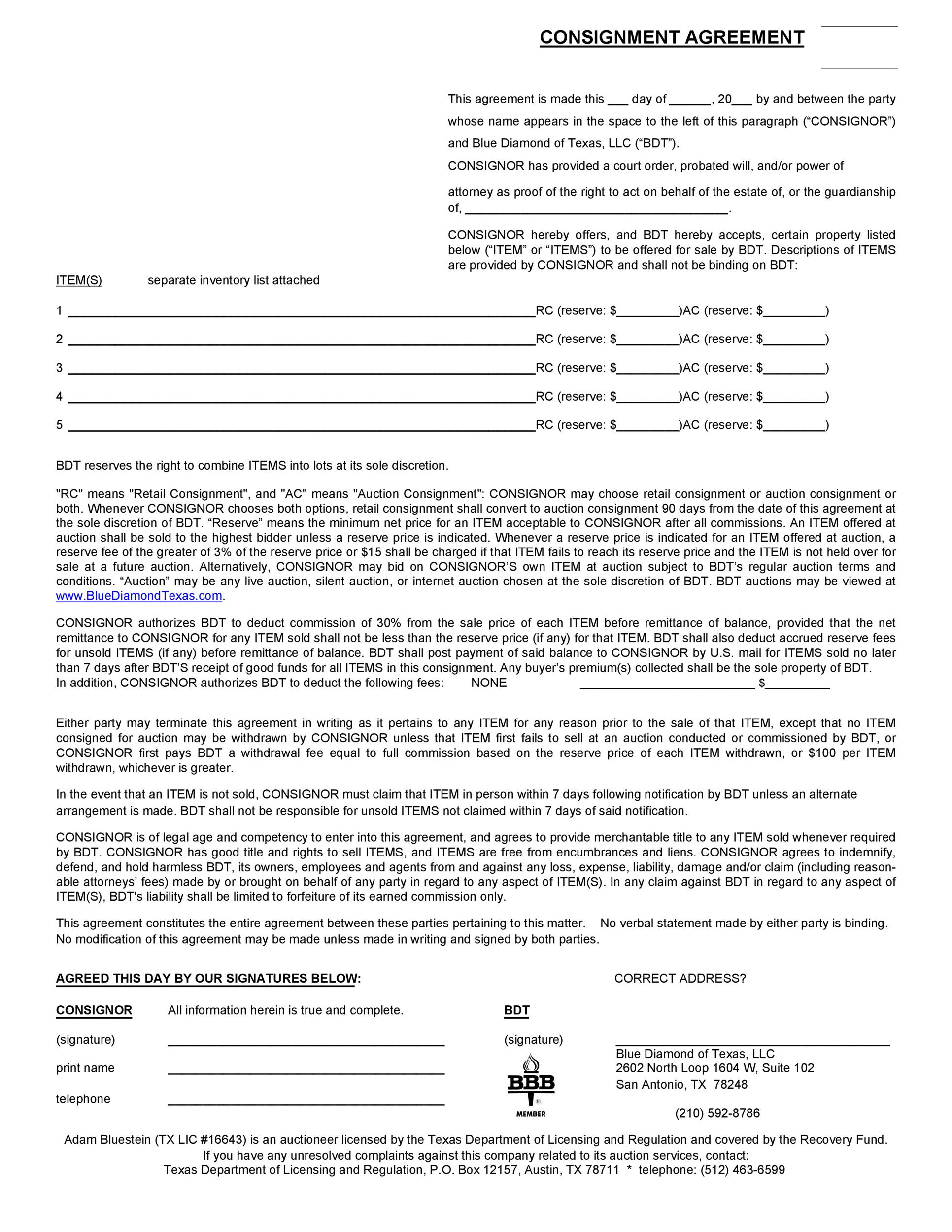 Free Consignment Agreement Template 27