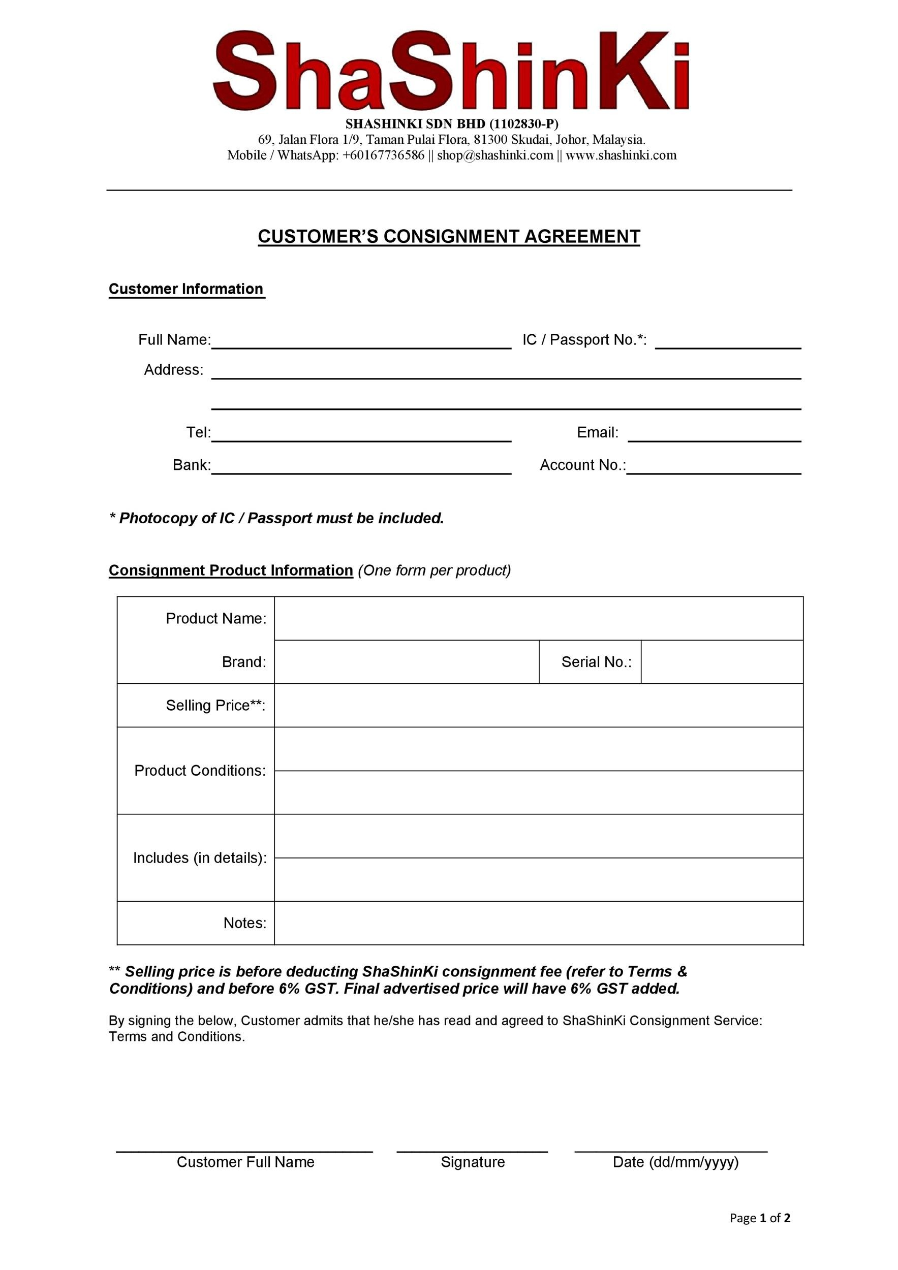 Free Consignment Agreement Template 30