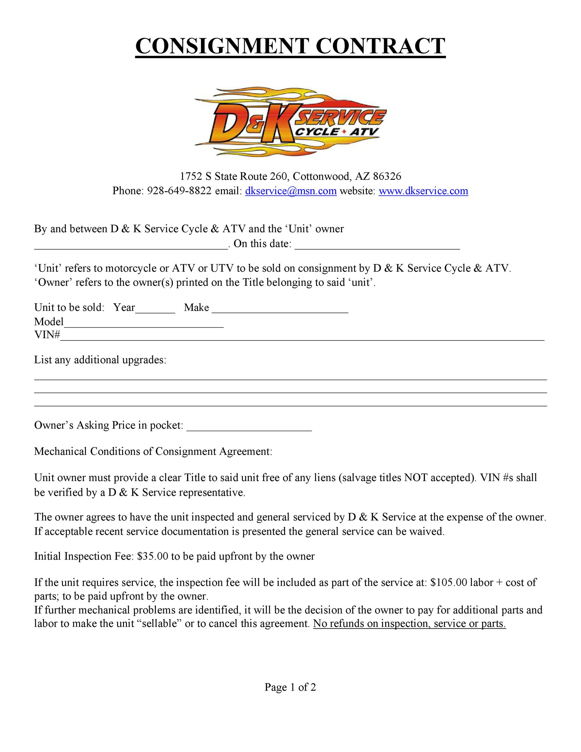 Printable Consignment Agreement Template 33  Free Consignment Contract Template