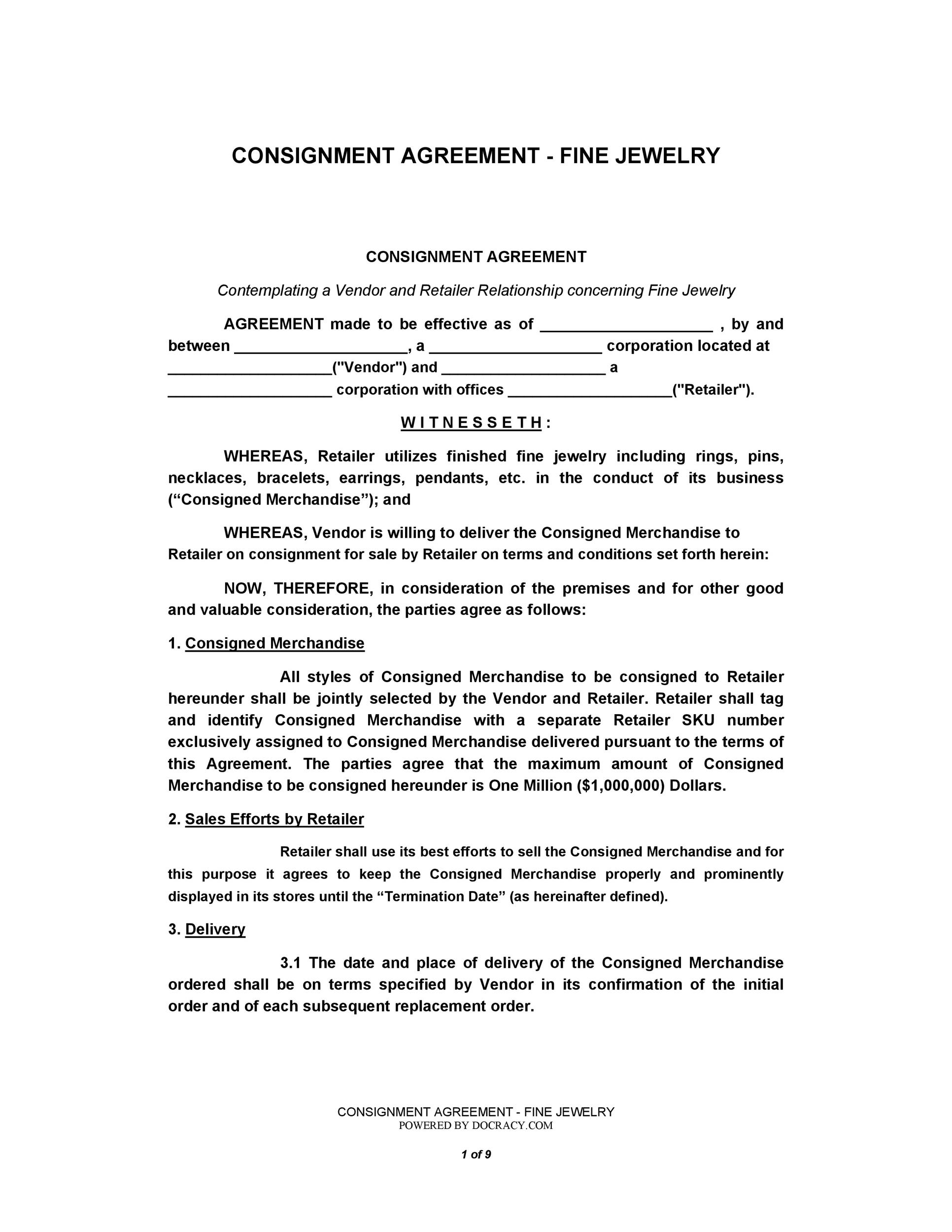 Printable Consignment Agreement Template 34  Free Consignment Contract Template
