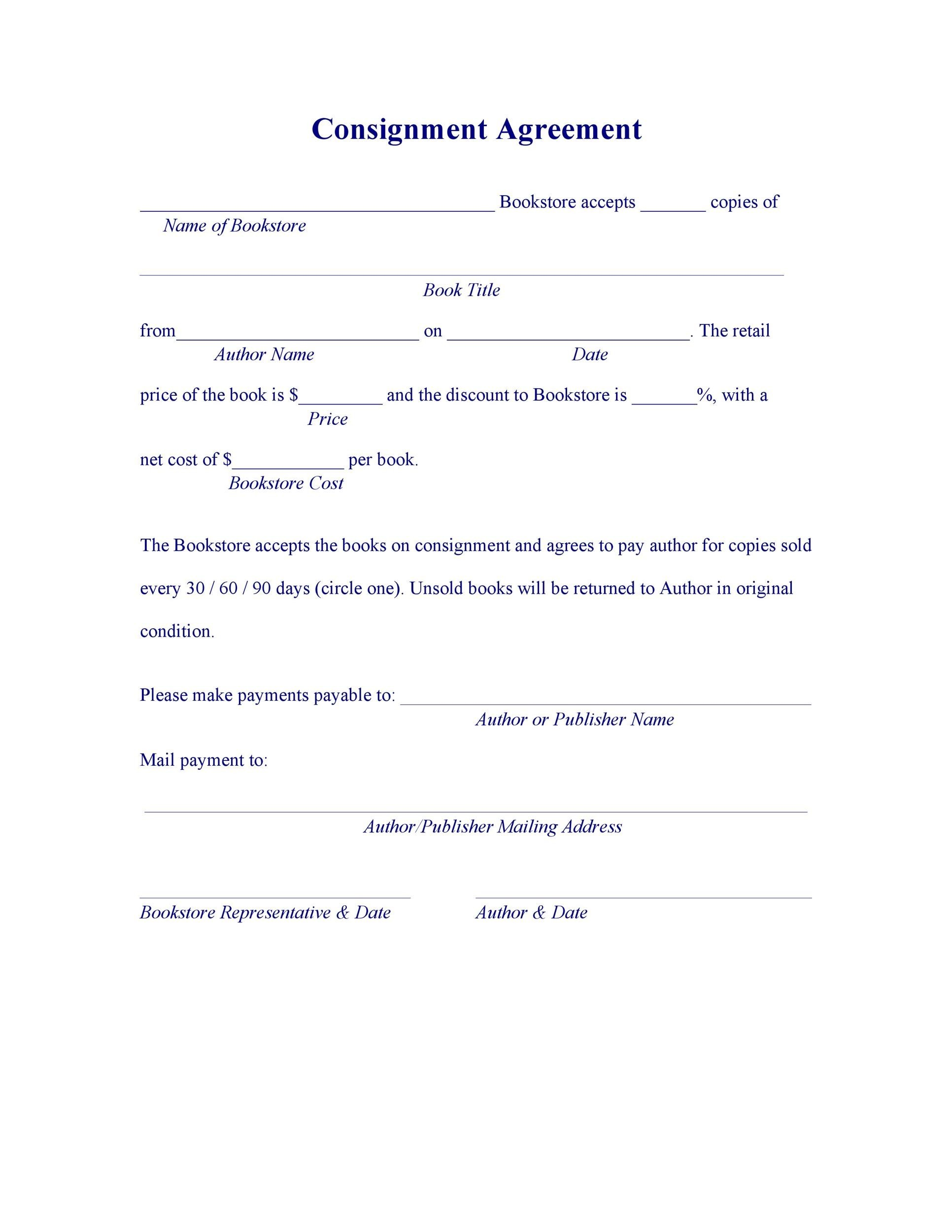 Free Consignment Agreement Template 35