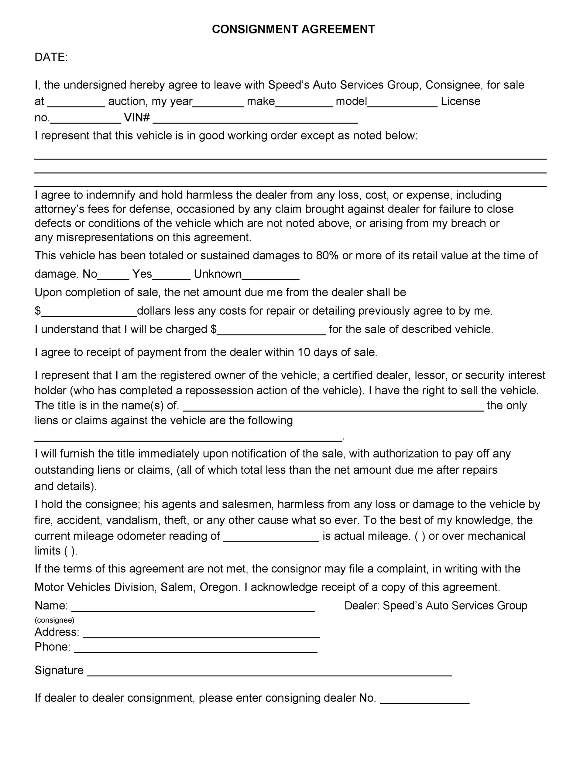 Free Consignment Agreement Template 36