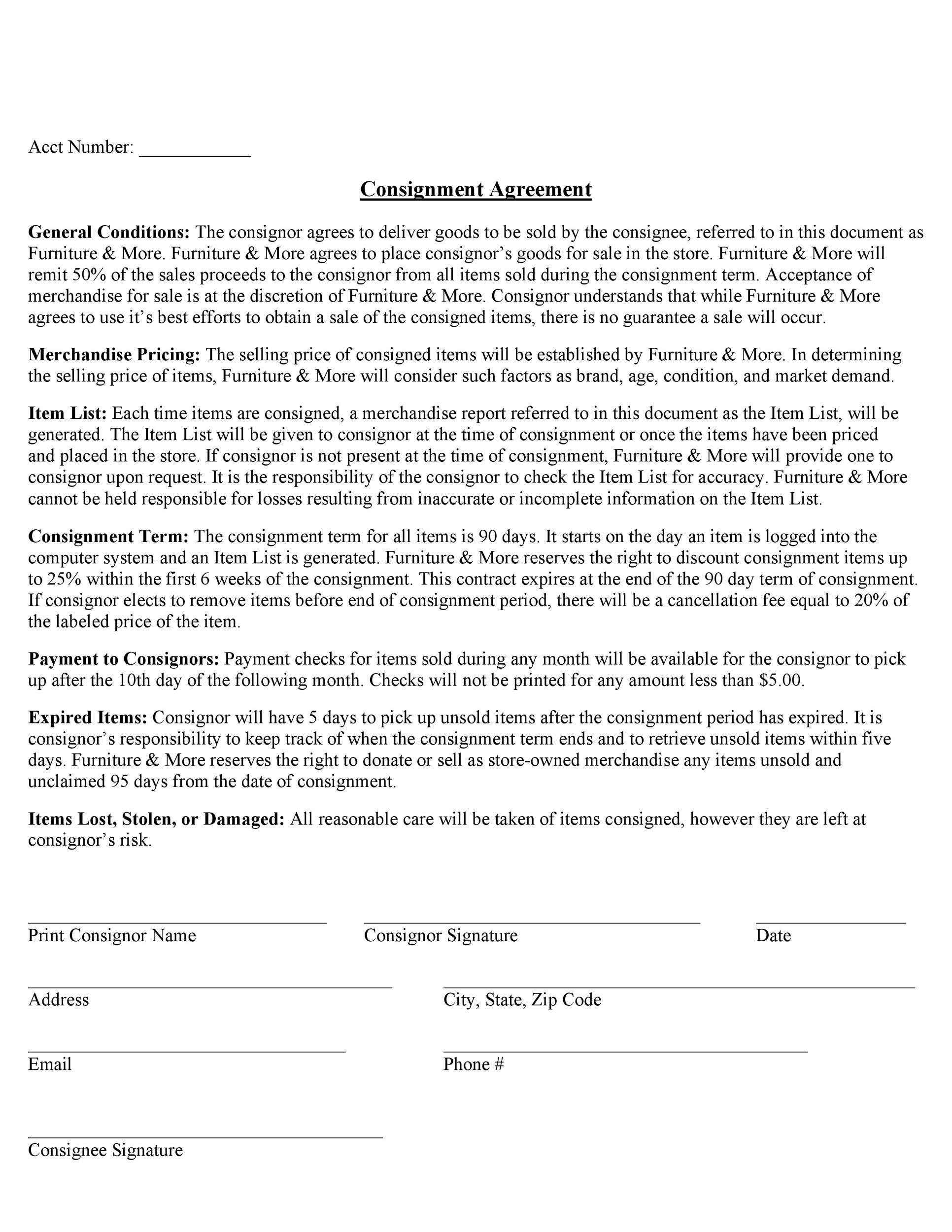 Free Consignment Agreement Template 37