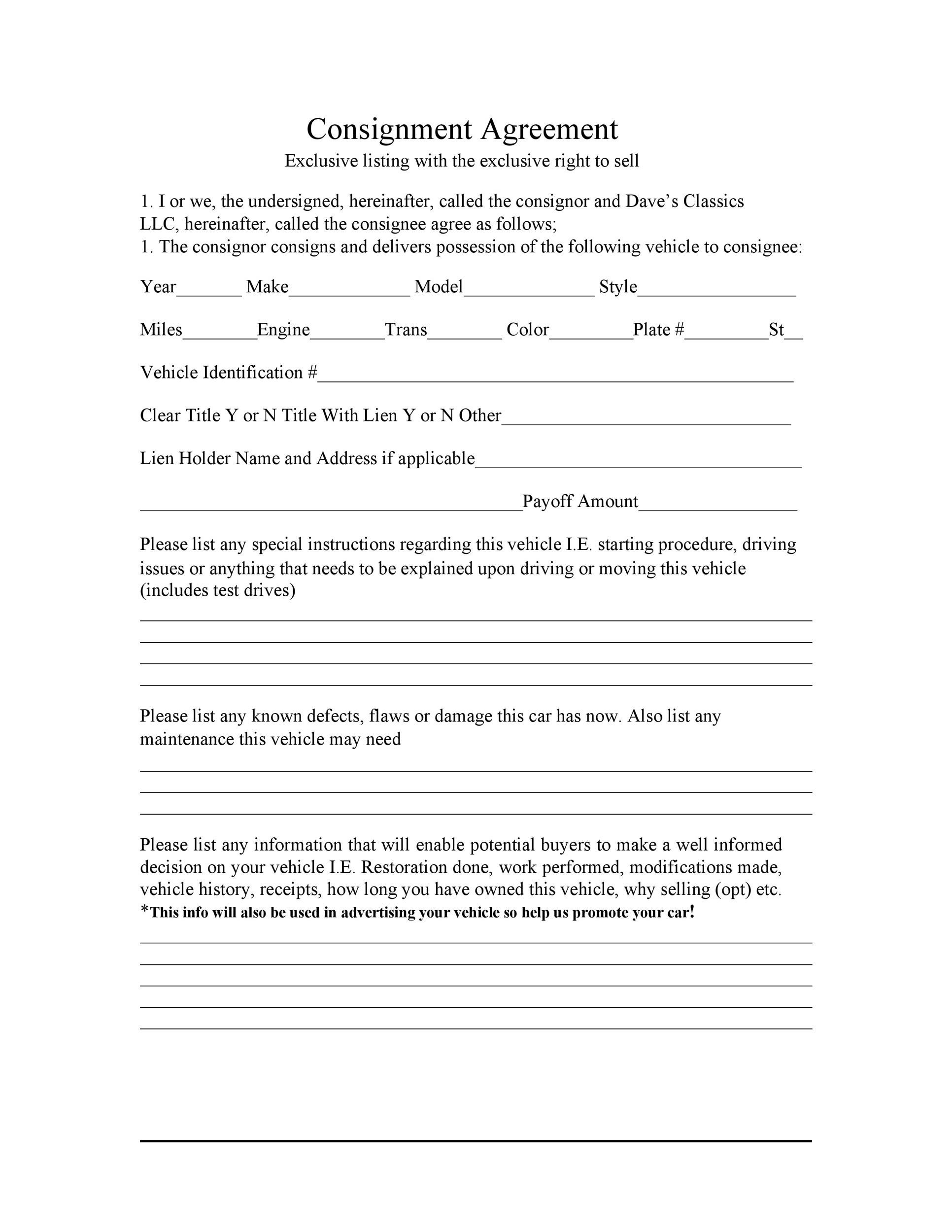 Free Consignment Agreement Template 39