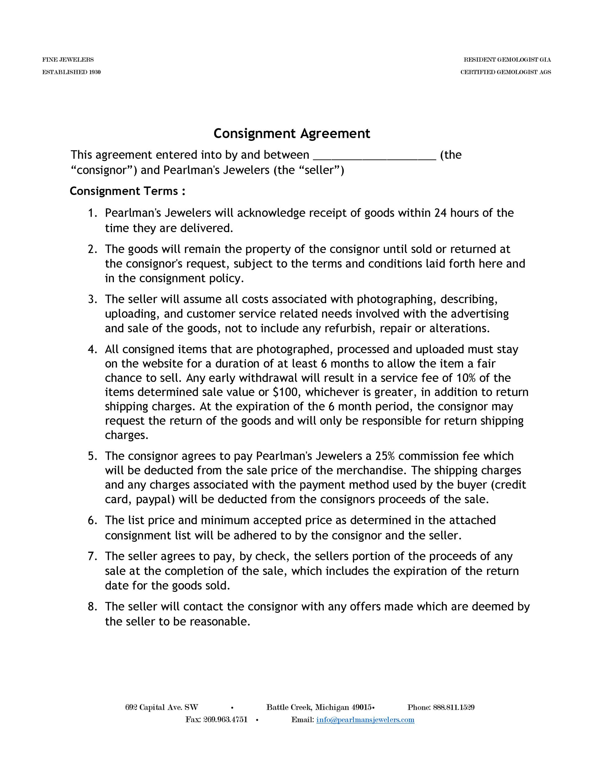 Free Consignment Agreement Template 41  Free Consignment Agreement