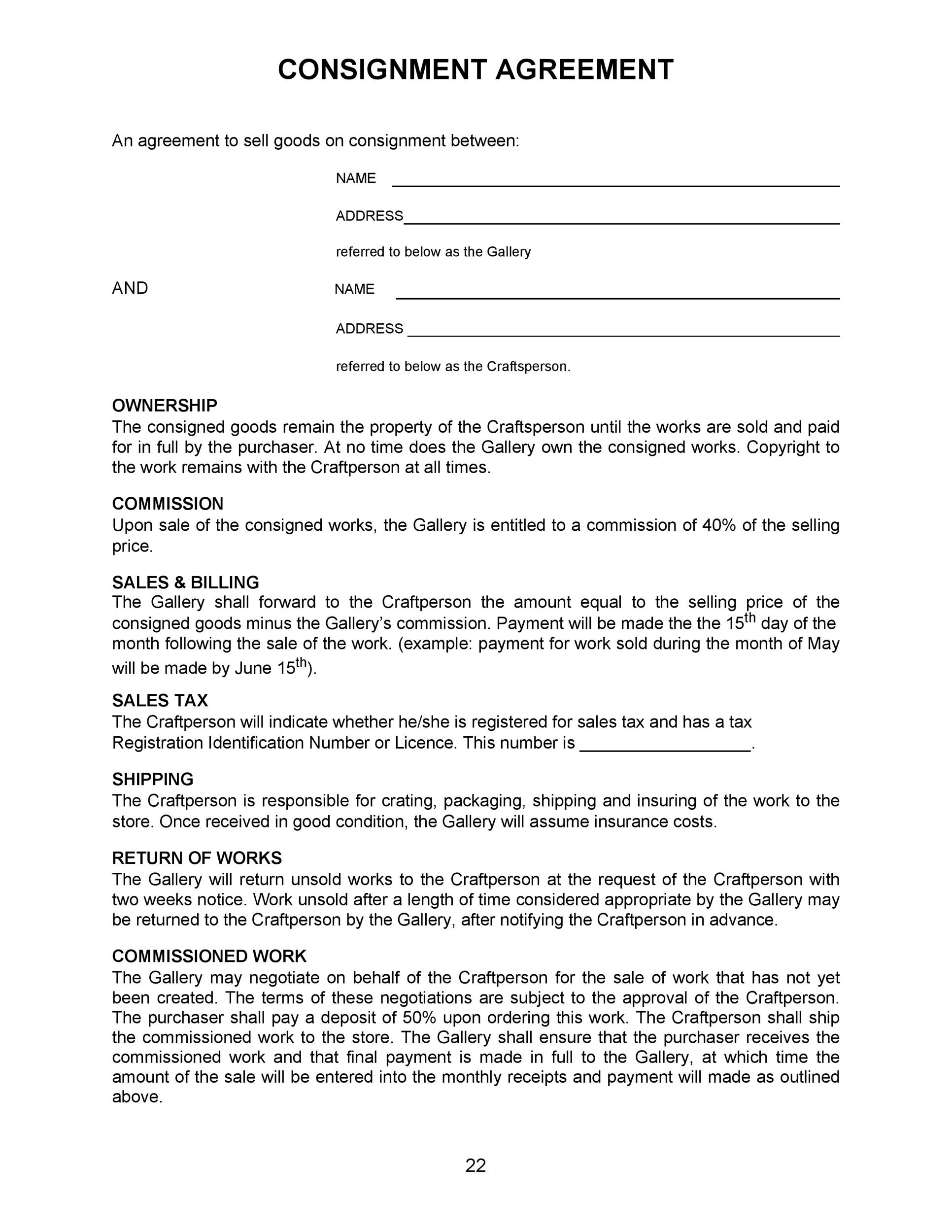 Free Consignment Agreement Template 42