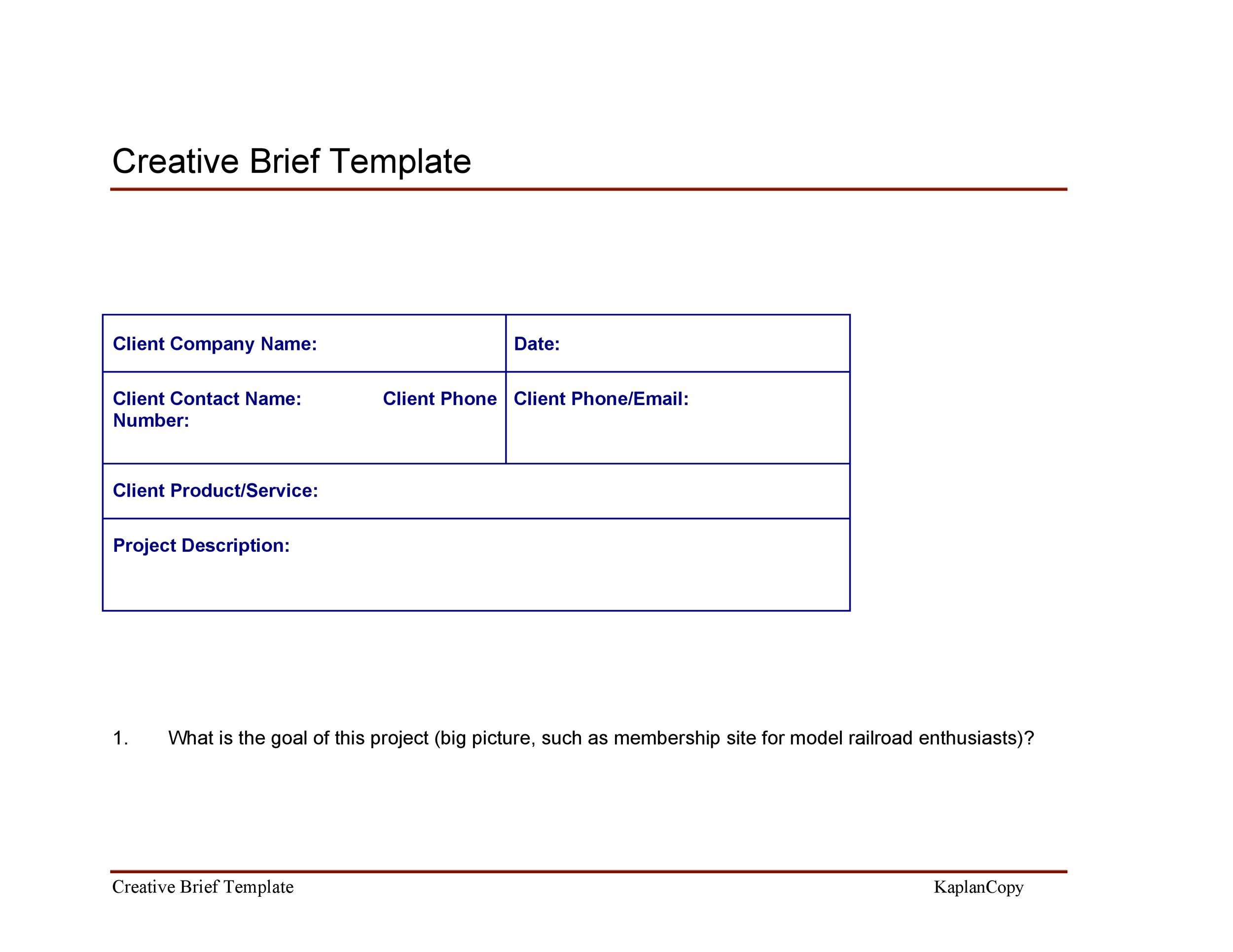 Free Creative Brief Template 30