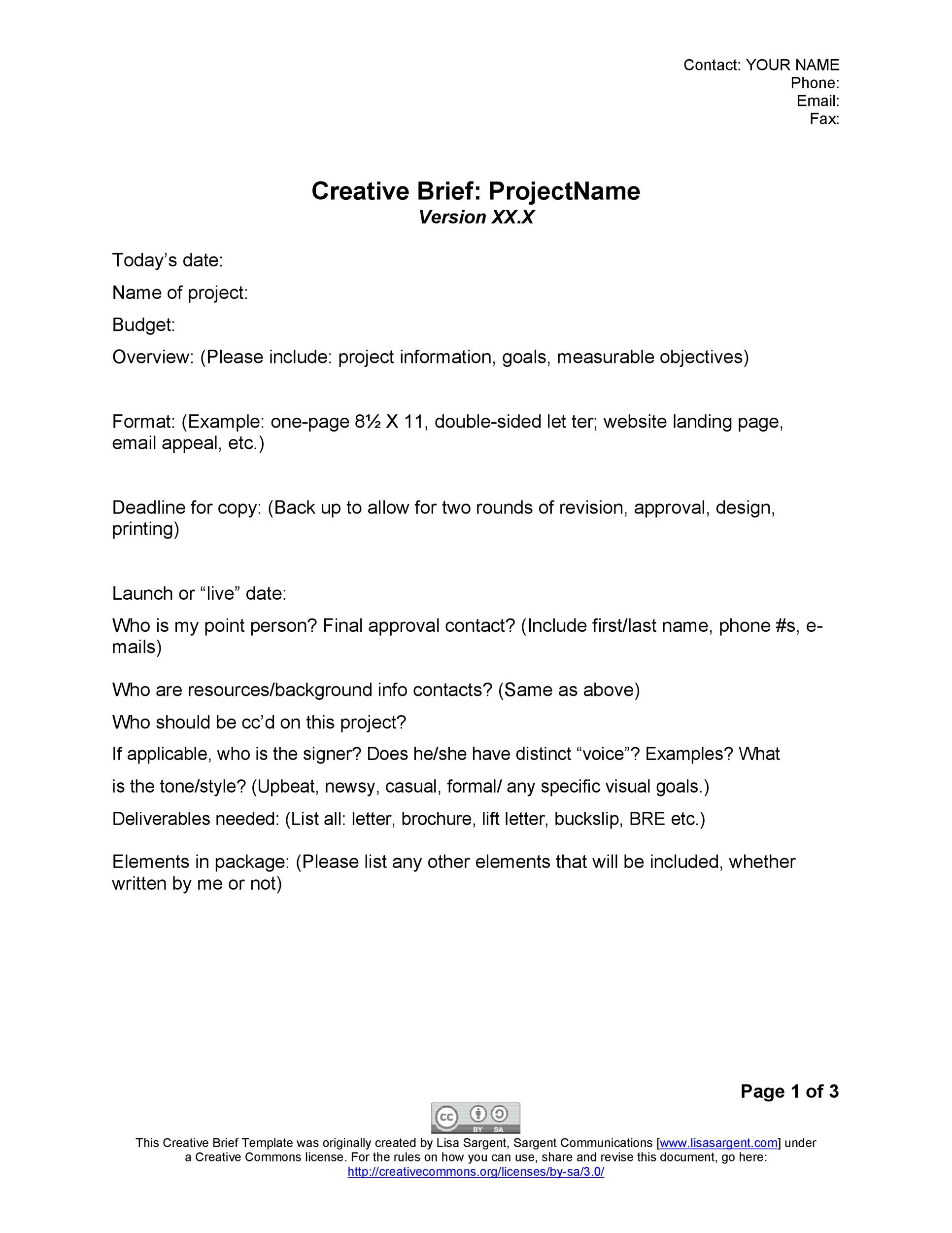 Copy brief template gallery template design free download for Copy brief template