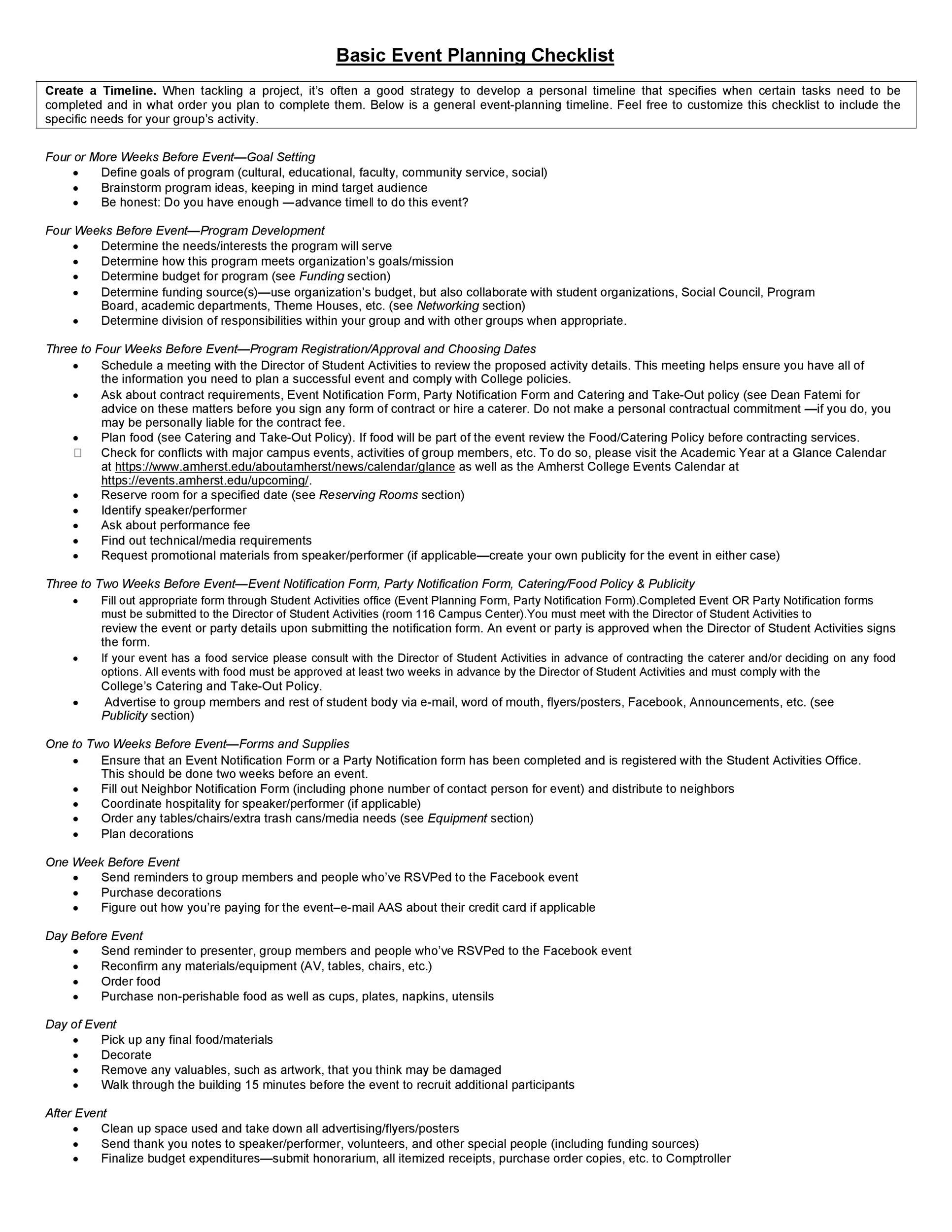 50 Professional Event Planning Checklist Templates Á… Templatelab
