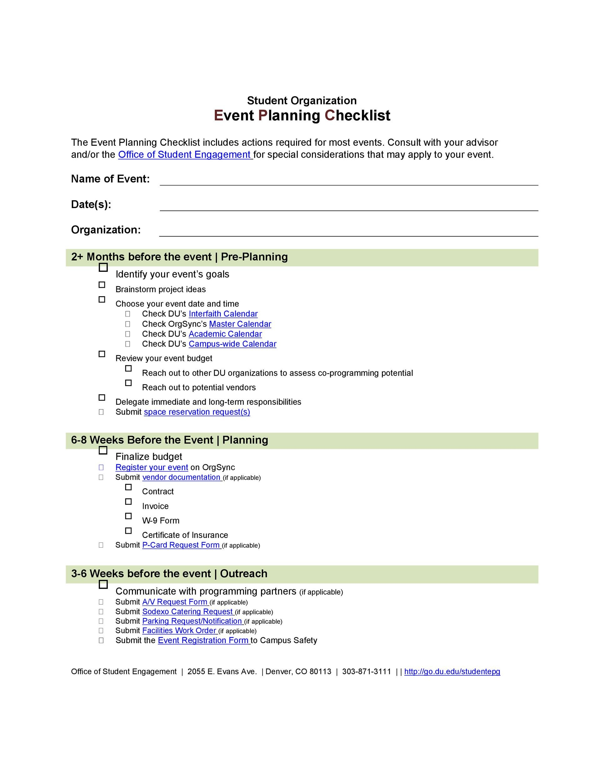 Professional Event Planning Checklist Templates  Template Lab