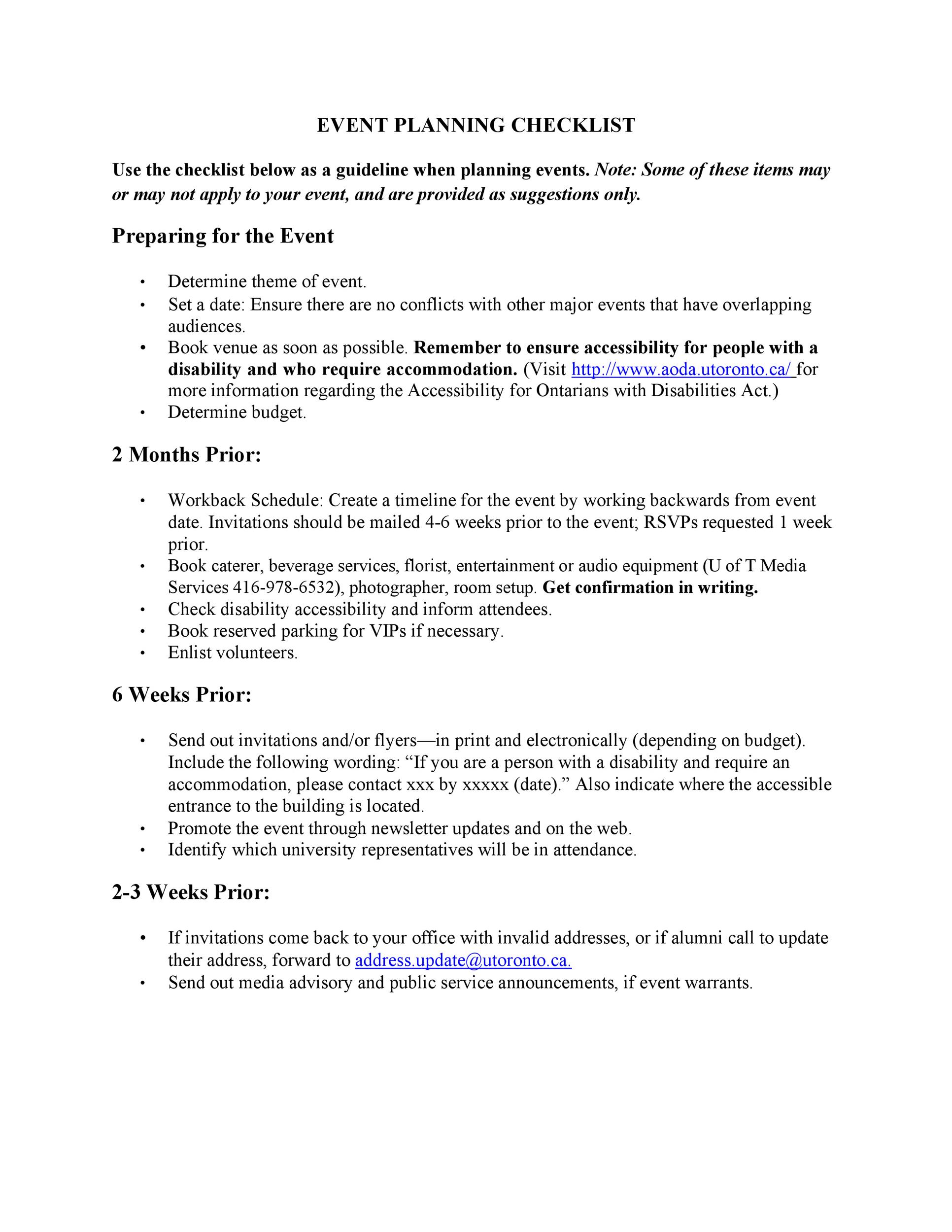 Free Event Planning Template 43