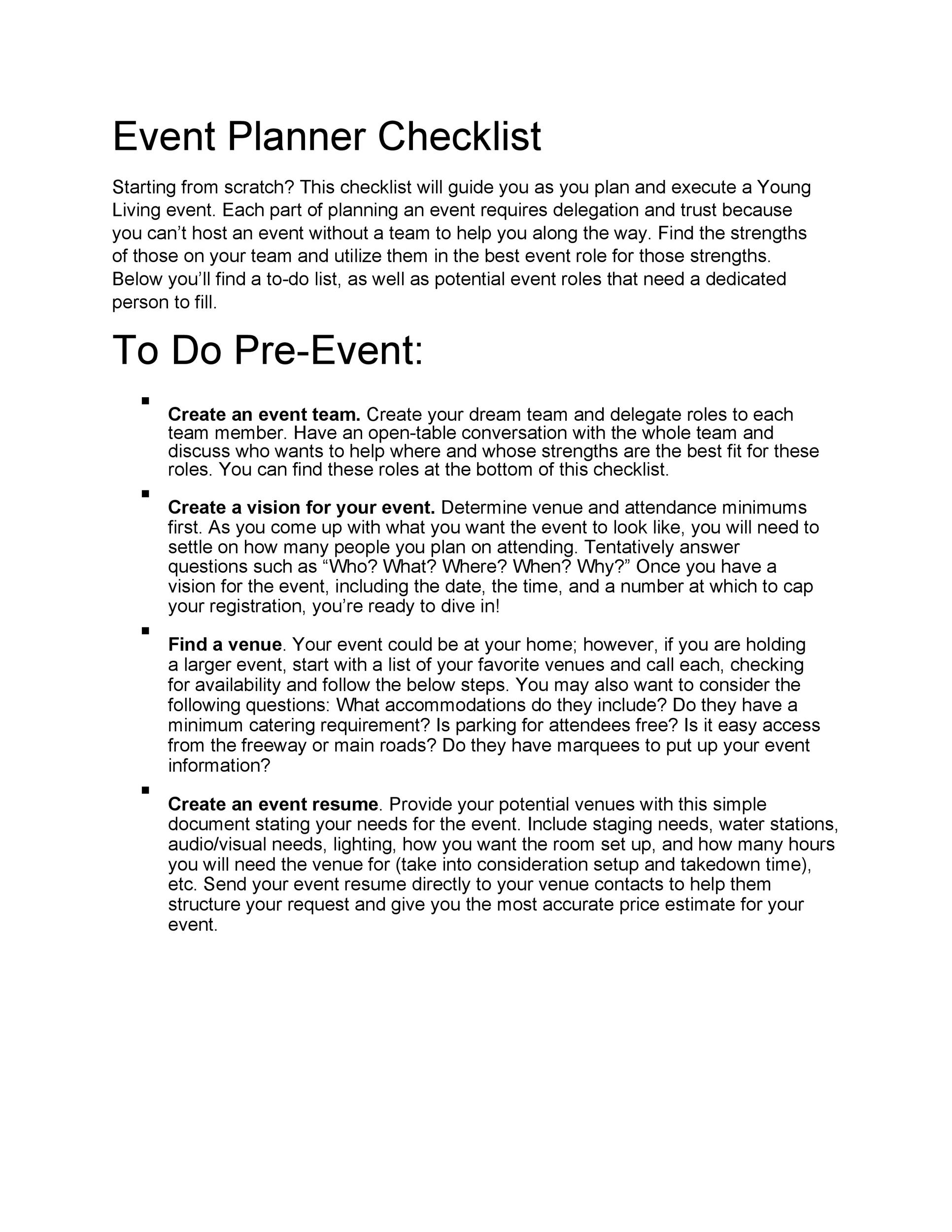 Free Event Planning Template 47