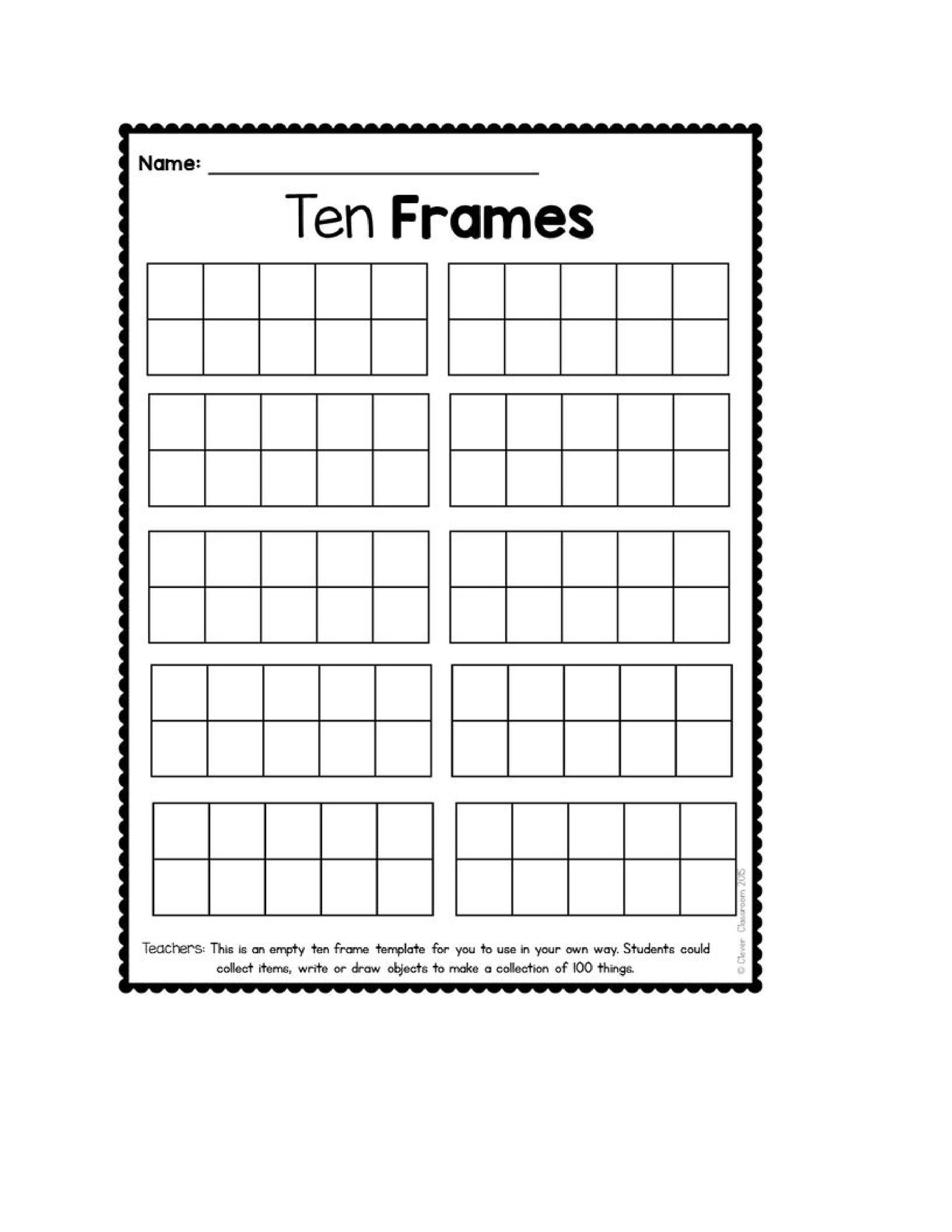 Printable Ten Frame Templates Free  Template Lab