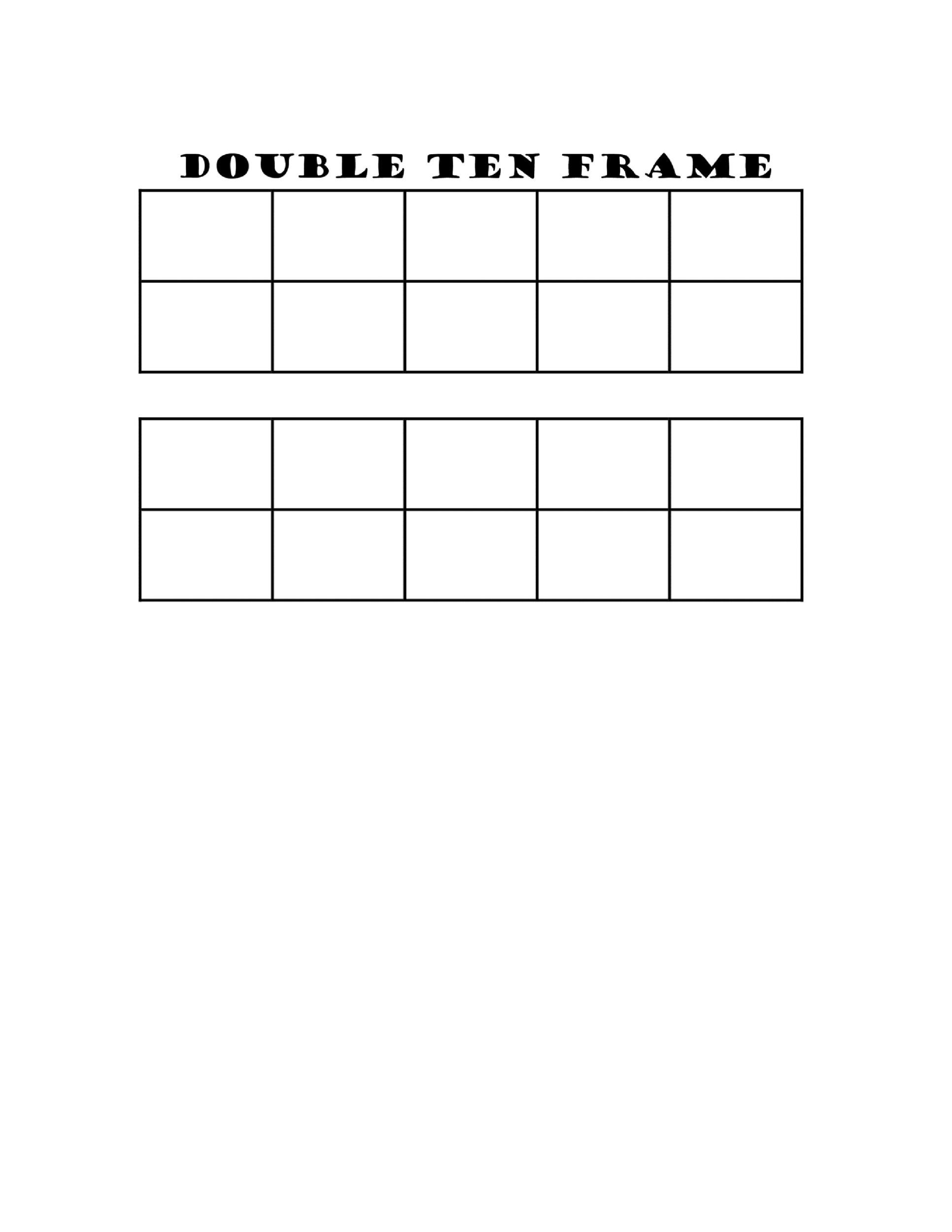 36 Printable Ten Frame Templates (Free) - Template Lab