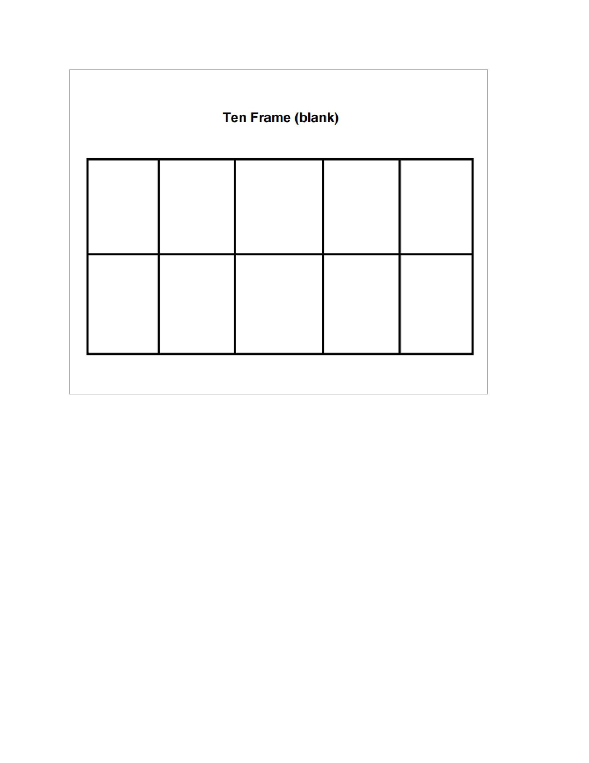 Free Ten Frame Template 26