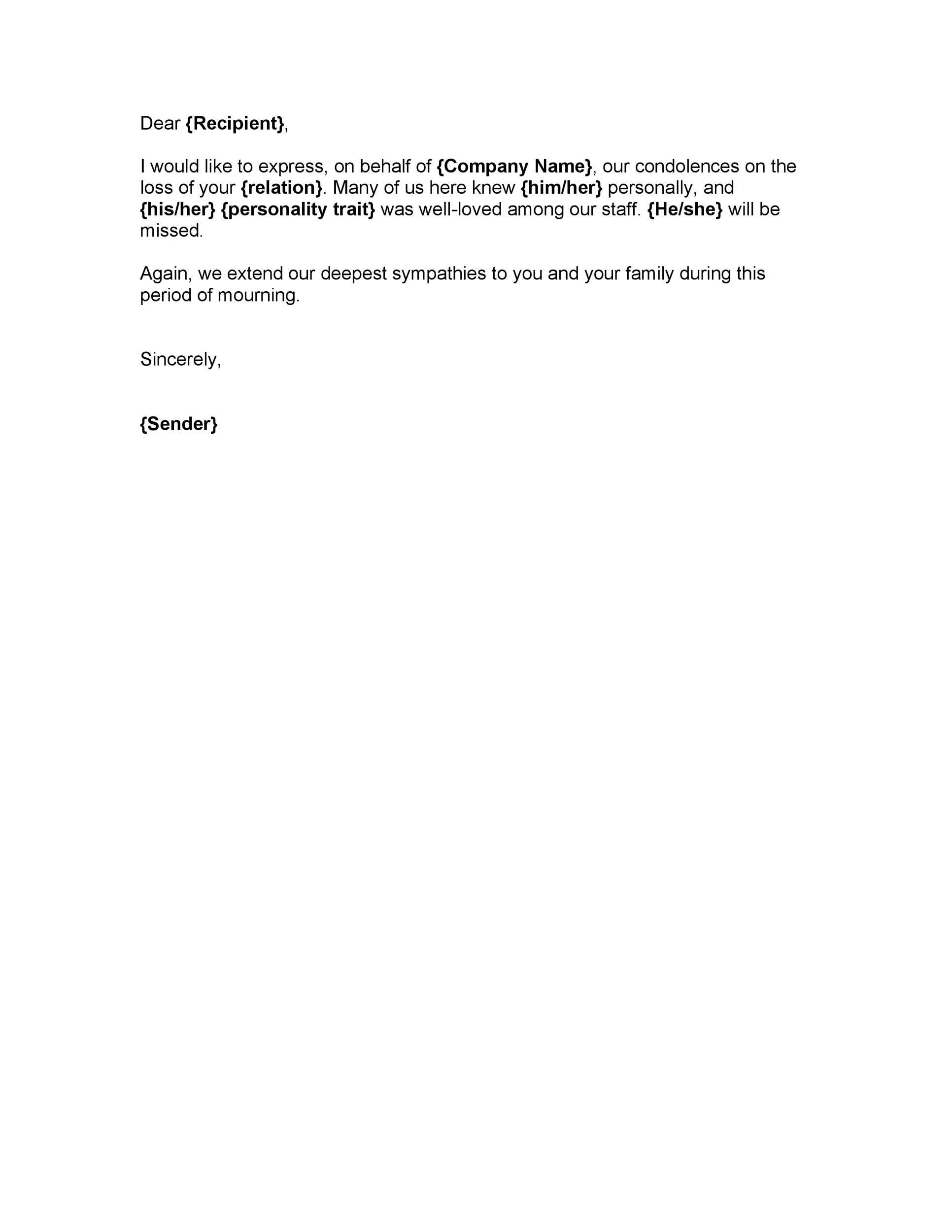 41 Condolence Sympathy Letter Samples ᐅ Templatelab