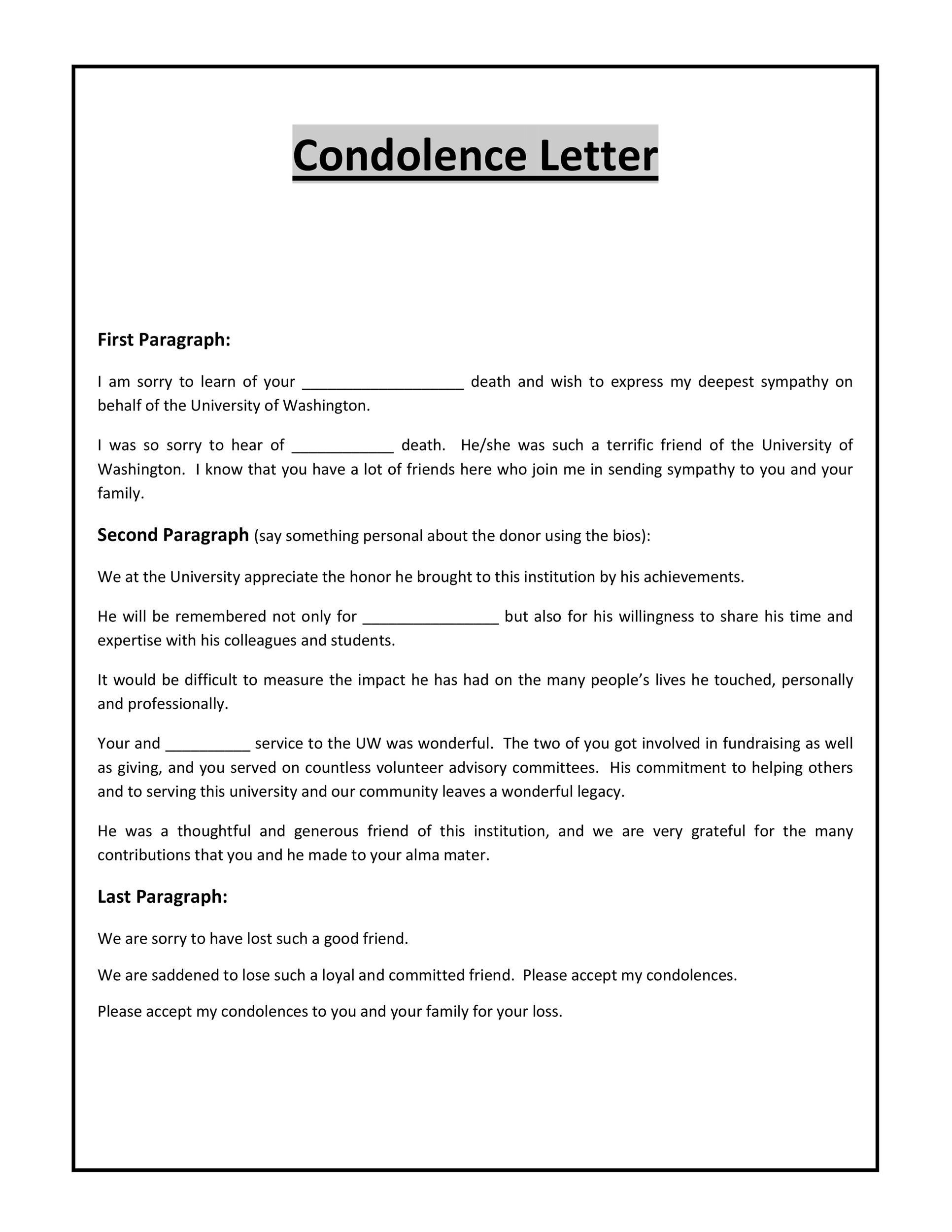 Condolence Letters