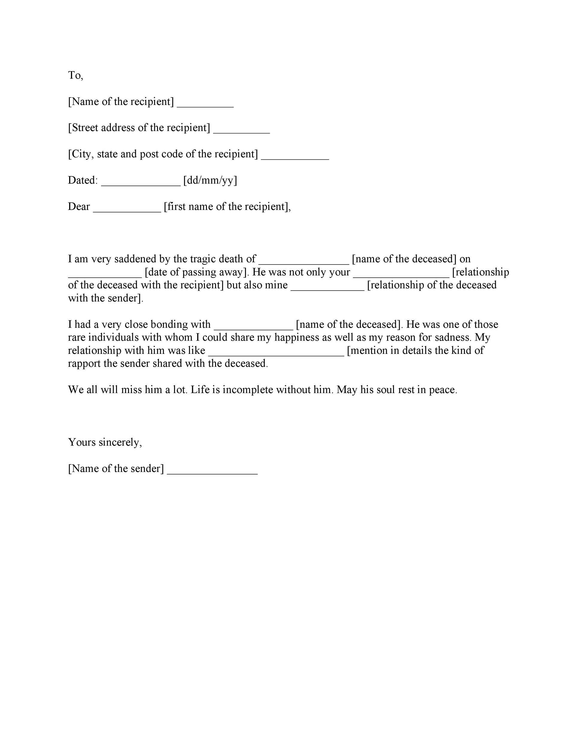 Free condolence letter 06